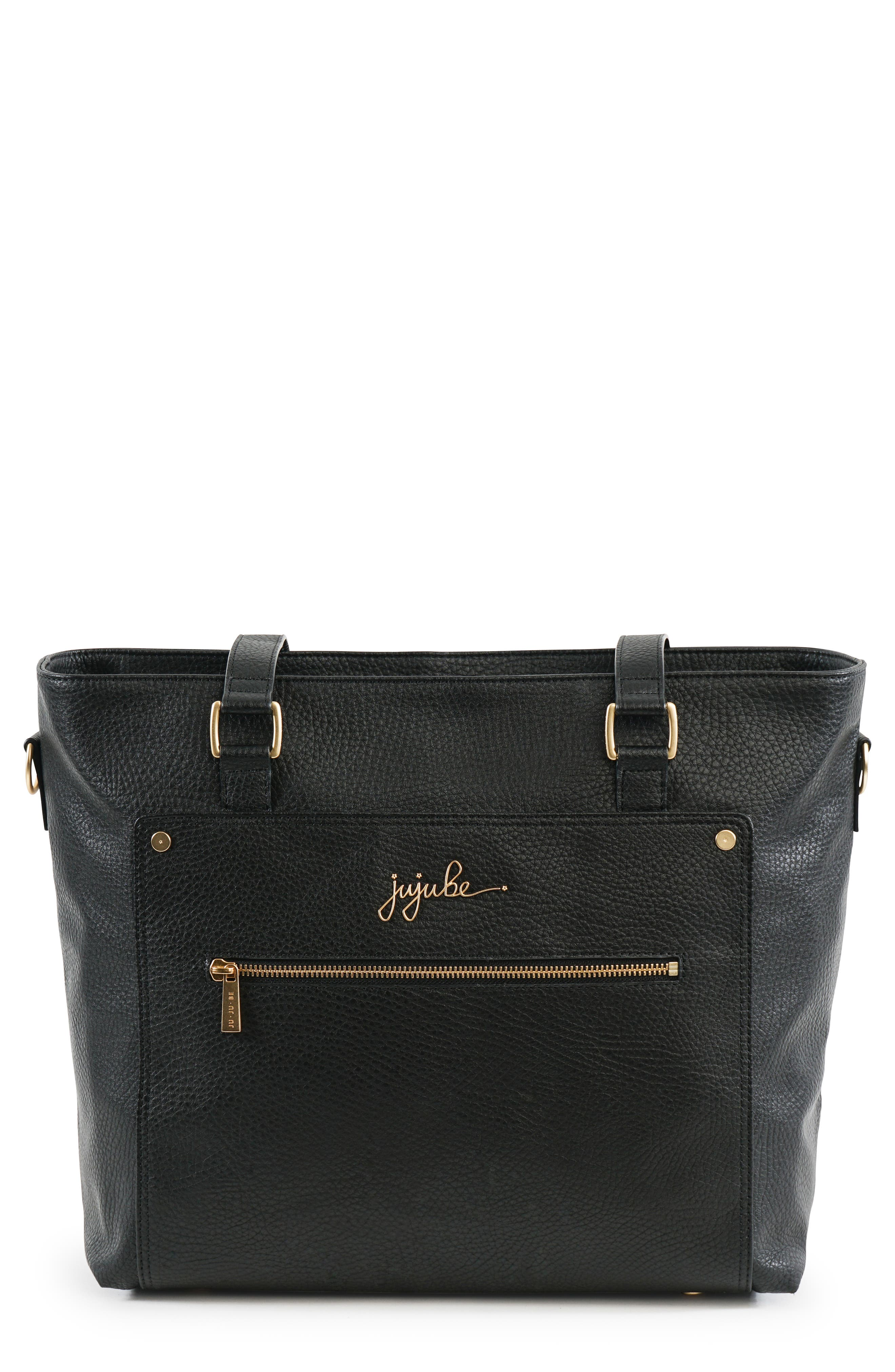 Ever Collection Everyday Faux Leather Diaper Tote,                             Main thumbnail 1, color,                             NOIR