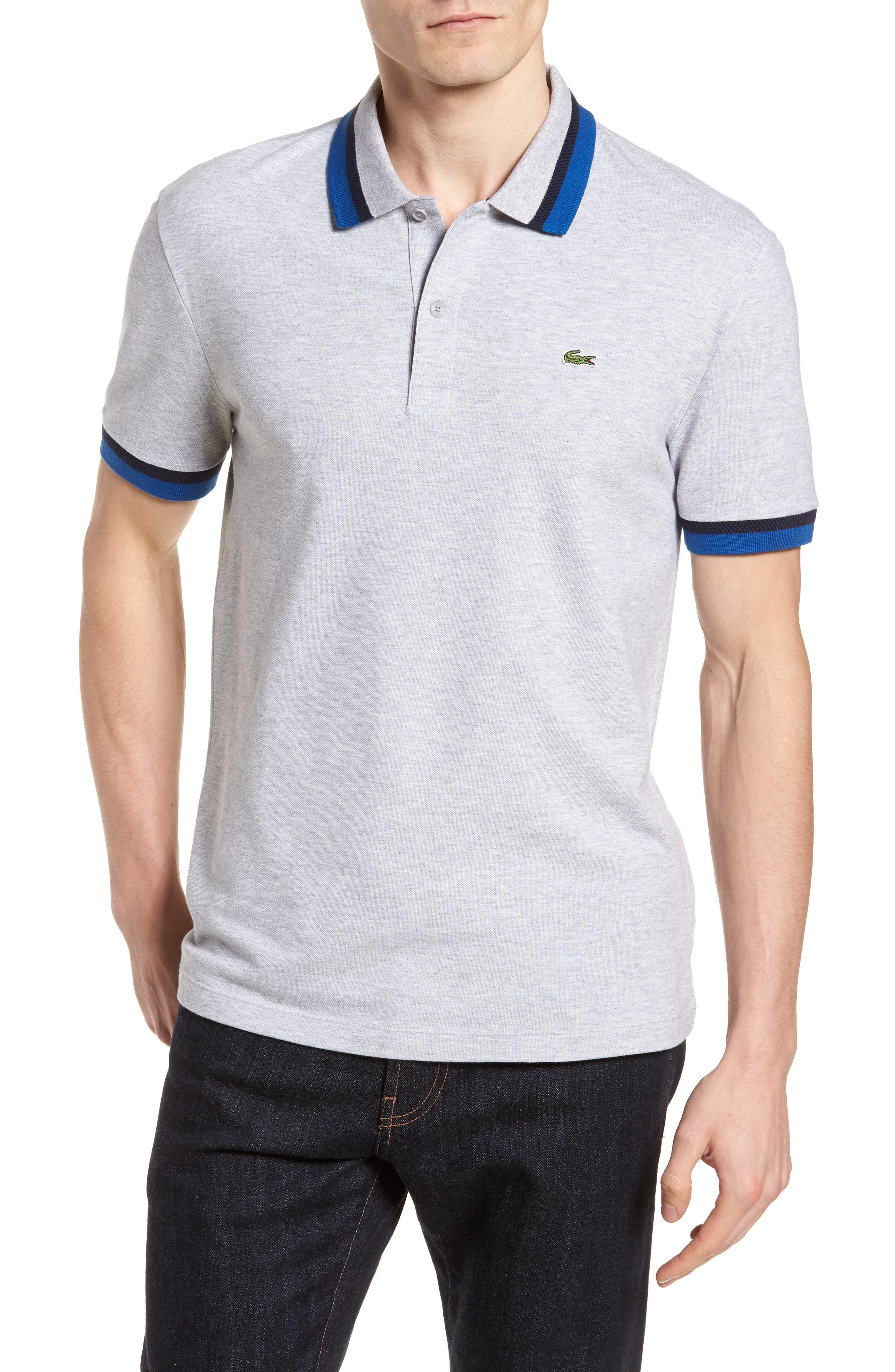 Slim Fit Contrast Stretch Cotton Piqué Polo,                         Main,                         color, SILVER CHINE/ NAVY BLUE-EL