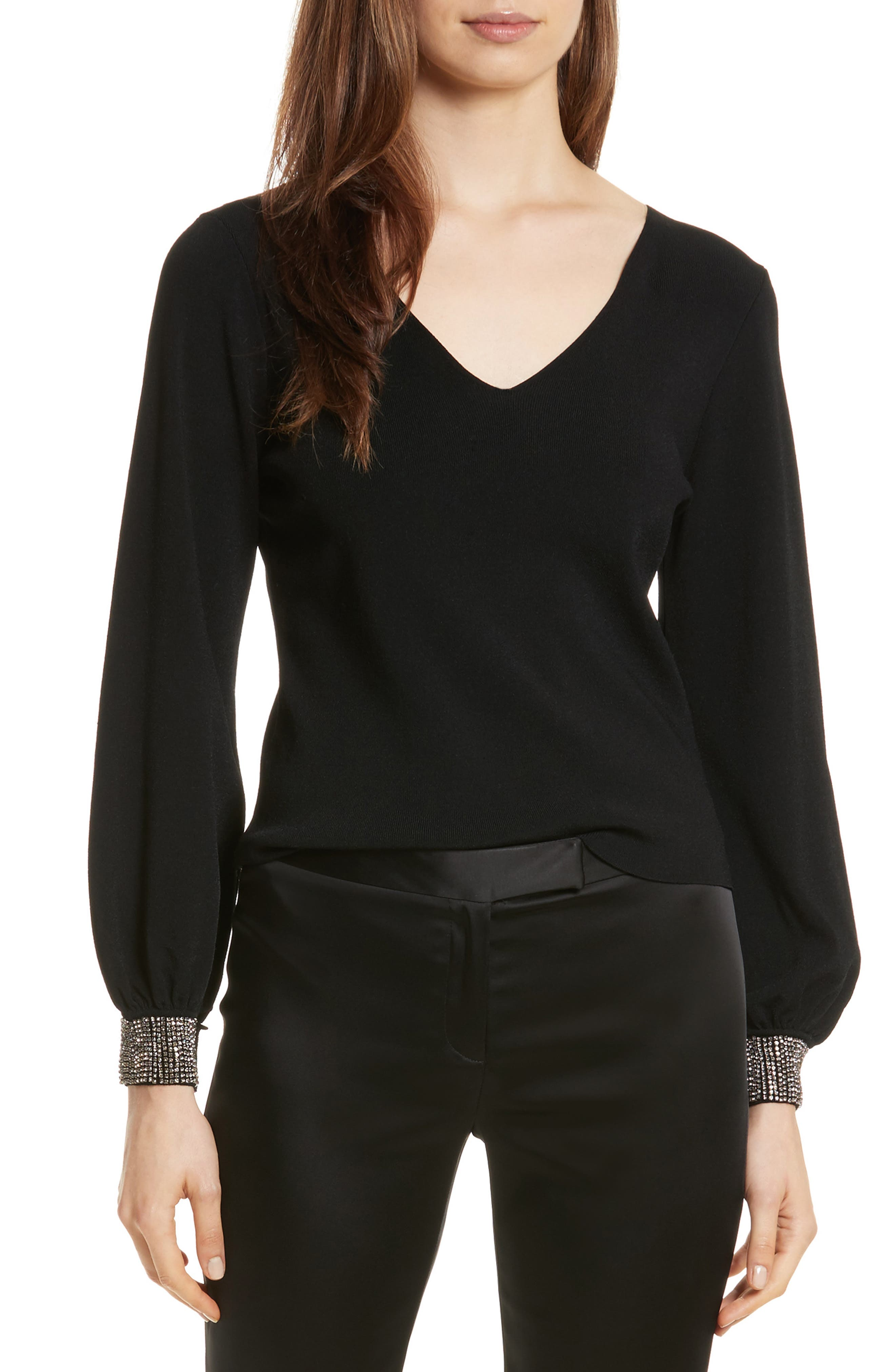Gem Cuff V-Neck Sweater,                             Main thumbnail 1, color,