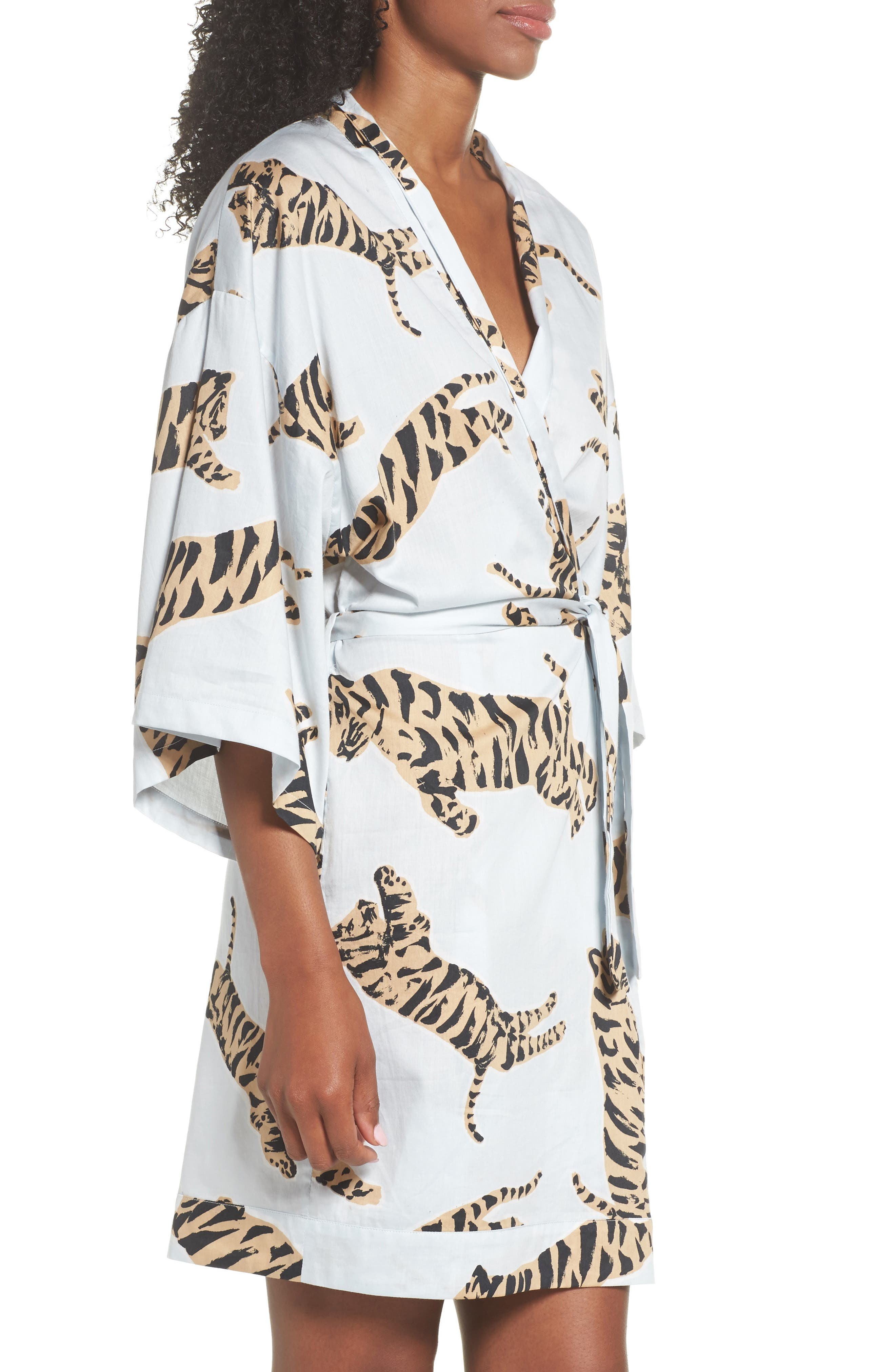 Margaux Short Cotton Robe,                             Alternate thumbnail 3, color,