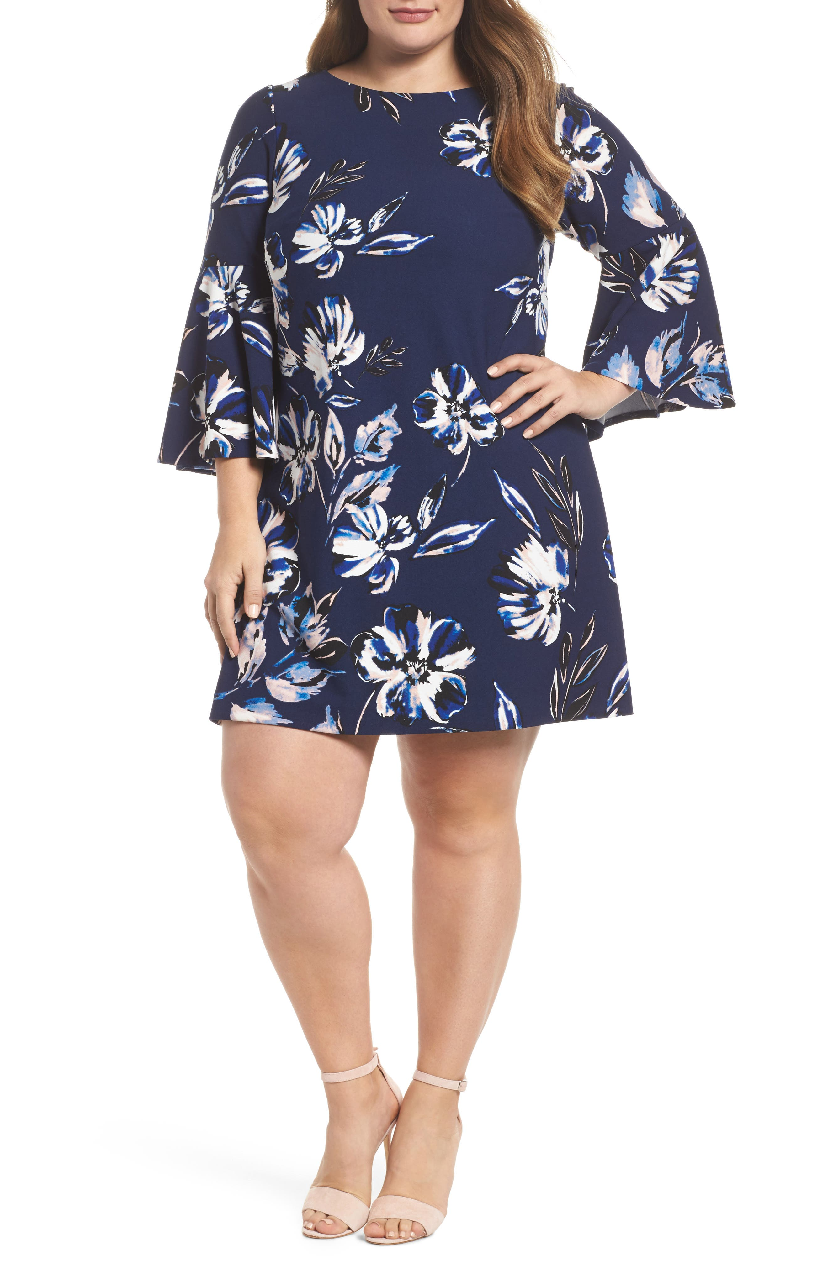 Bell Sleeve Shift Dress,                         Main,                         color, 410