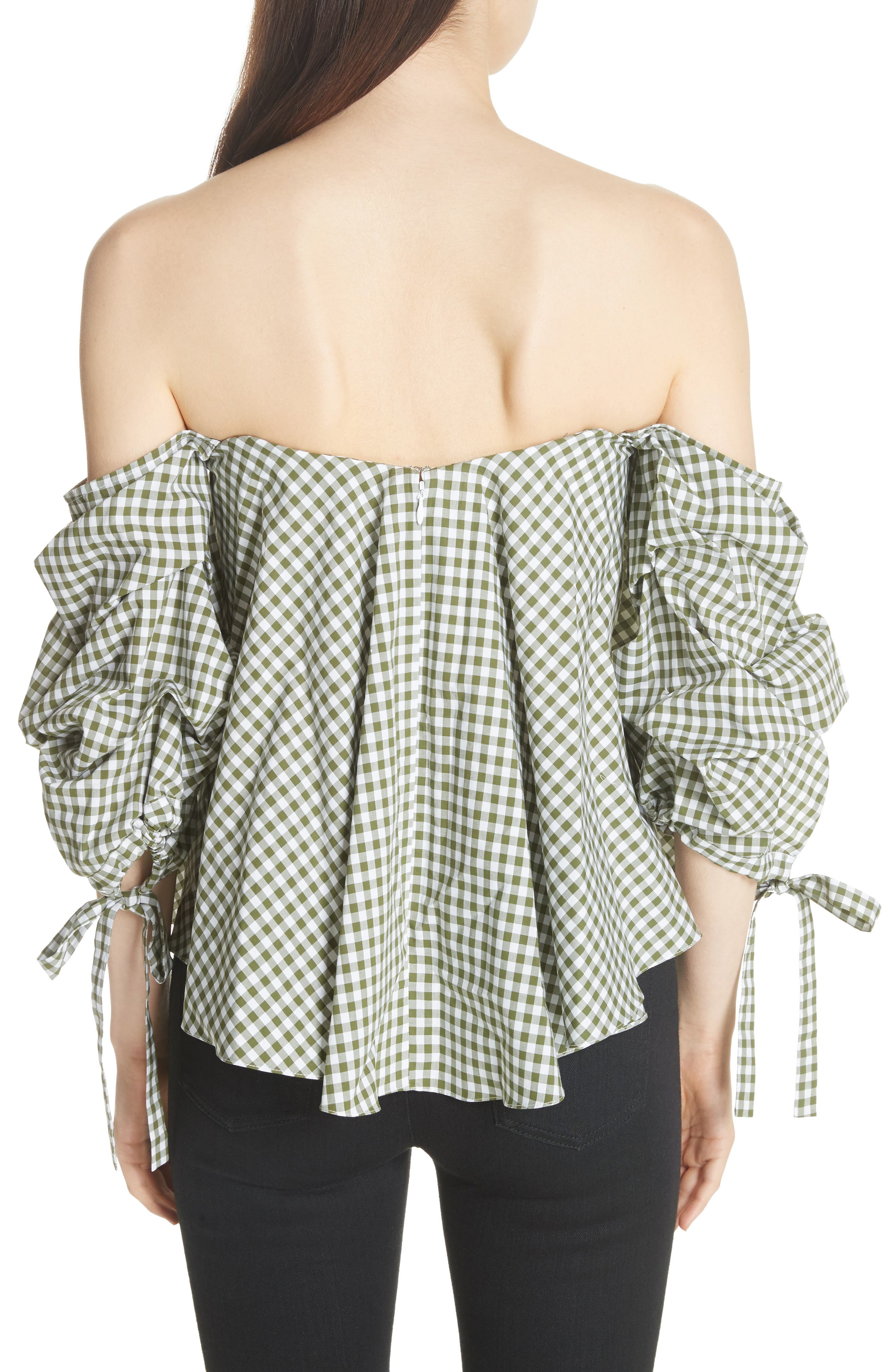Gabriella Gingham Off the Shoulder Top,                             Alternate thumbnail 2, color,                             365