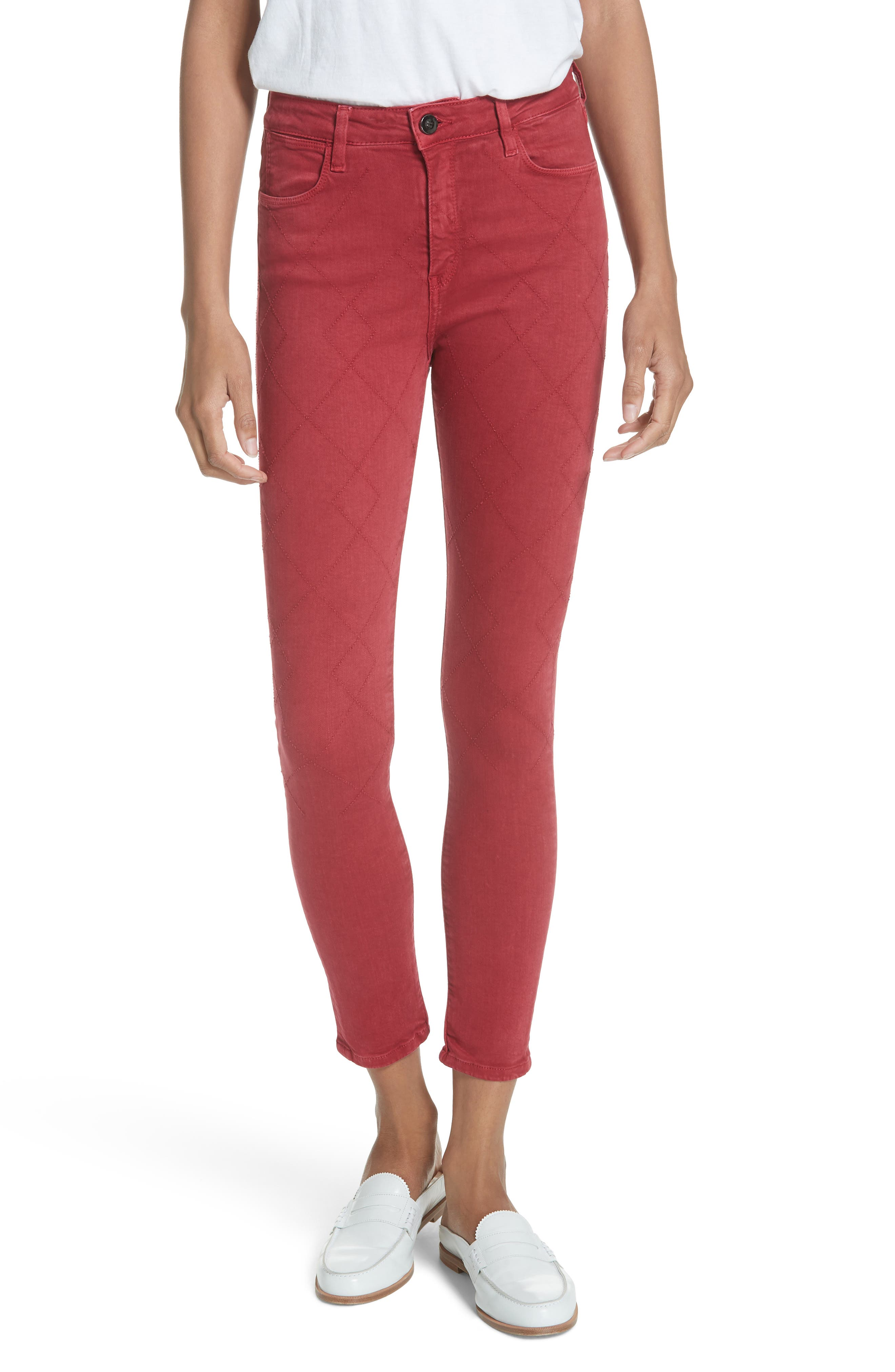 Rolling Old Reina Lattice Stitch Skinny Jeans,                             Main thumbnail 1, color,                             FRAMBOISE