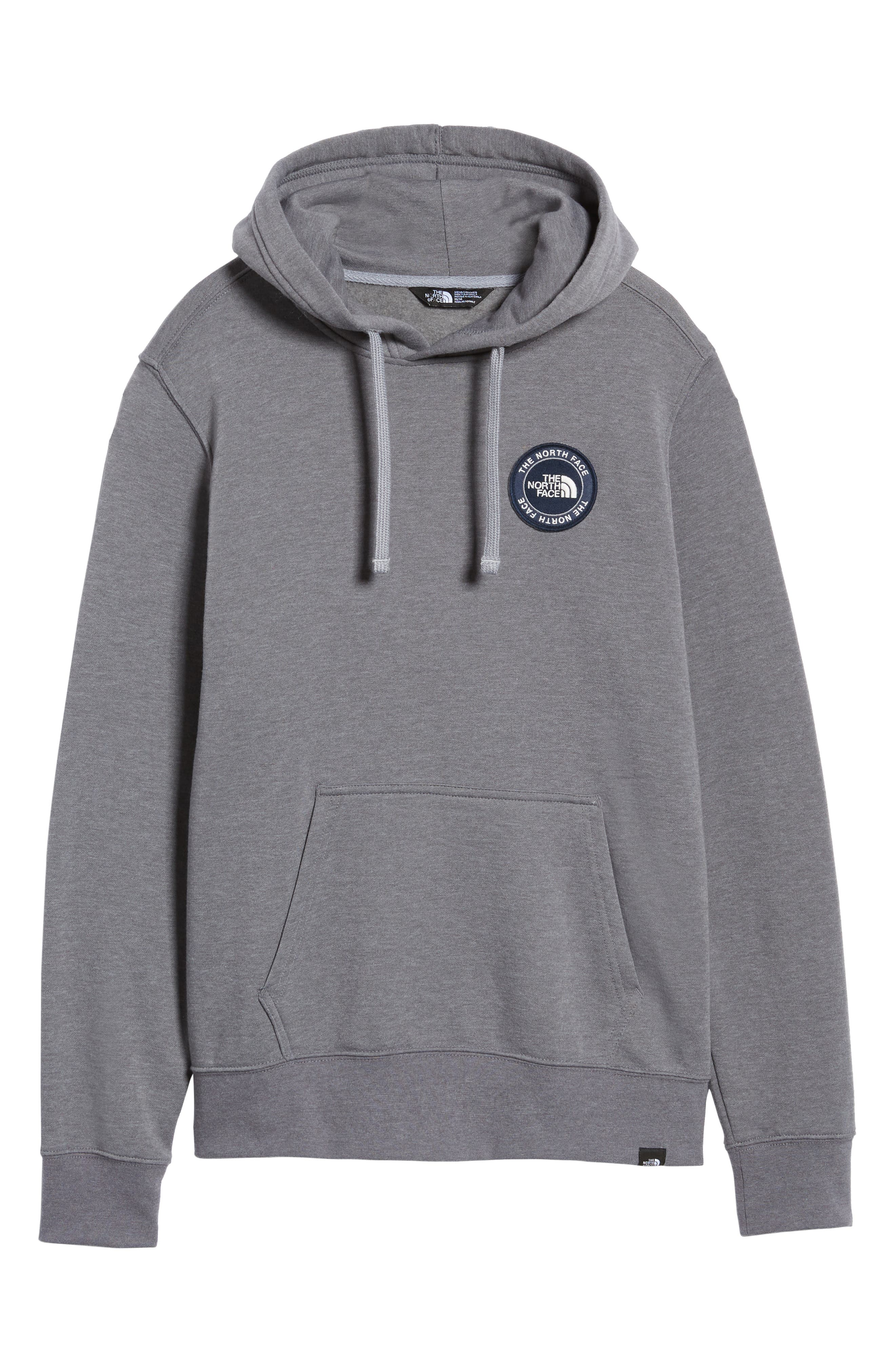 North Face Logo Patch Pullover Hoodie,                             Alternate thumbnail 6, color,                             TNF MEDIUM GREY HEATHER