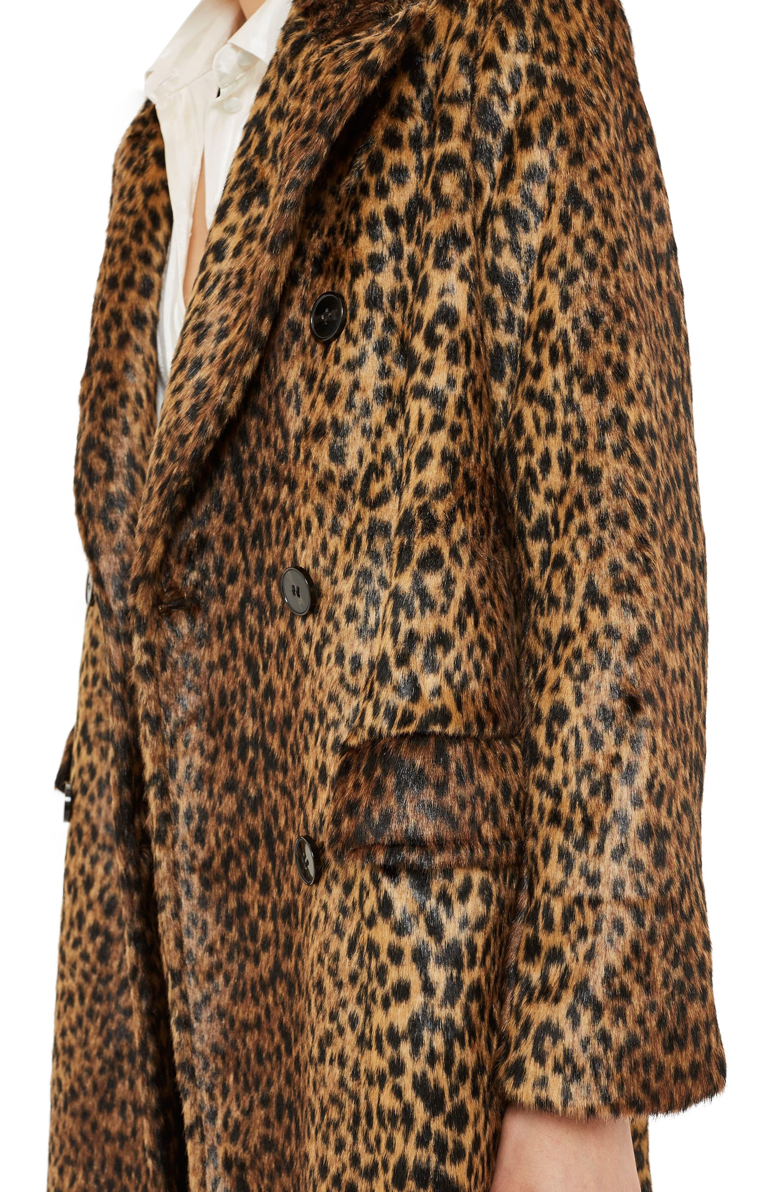 TOPSHOP,                             Toni Faux Fur Leopard Long Coat,                             Alternate thumbnail 3, color,                             200