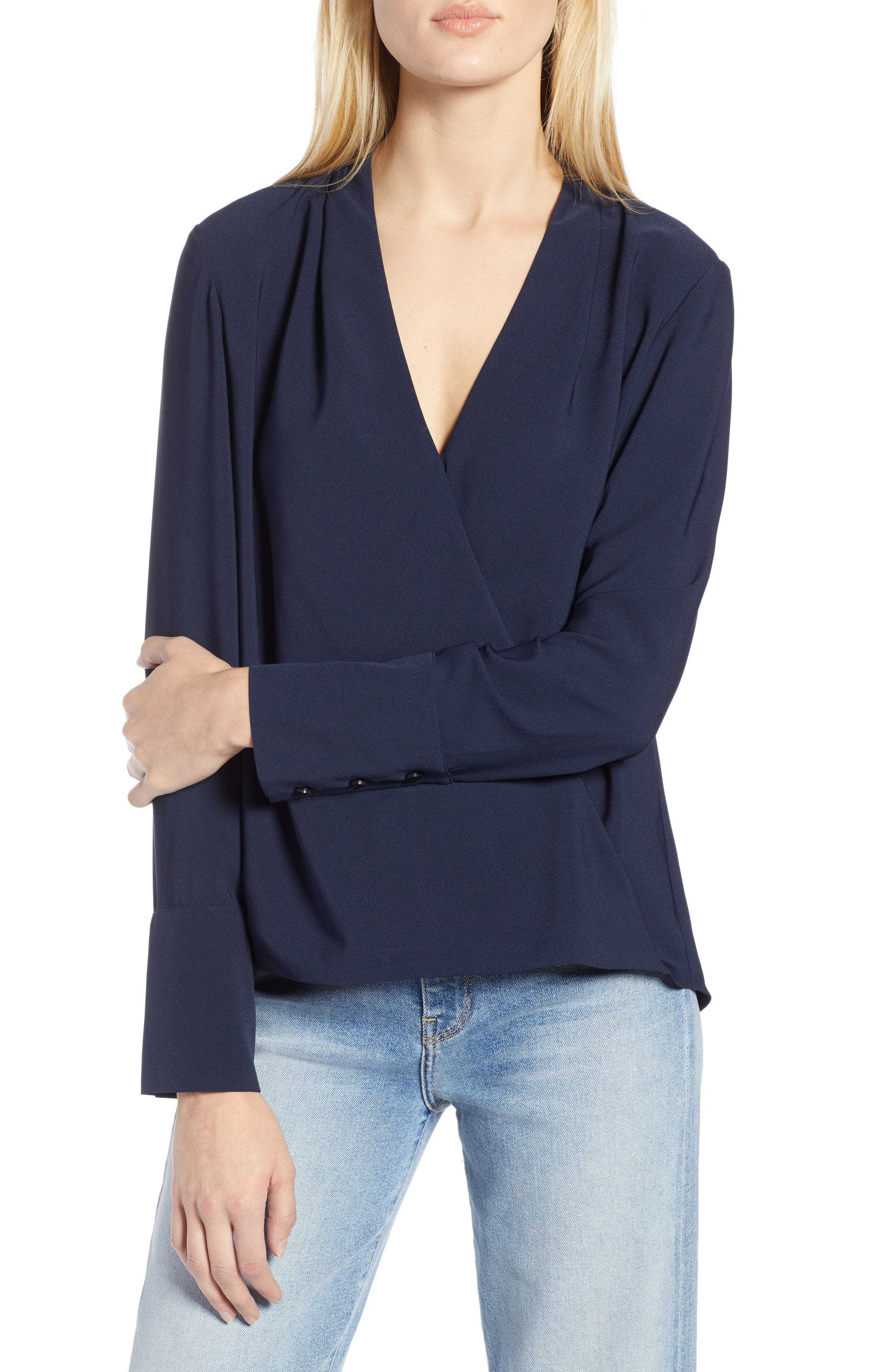 x Atlantic-Pacific Wrap Blouse,                         Main,                         color, NAVY BLAZER