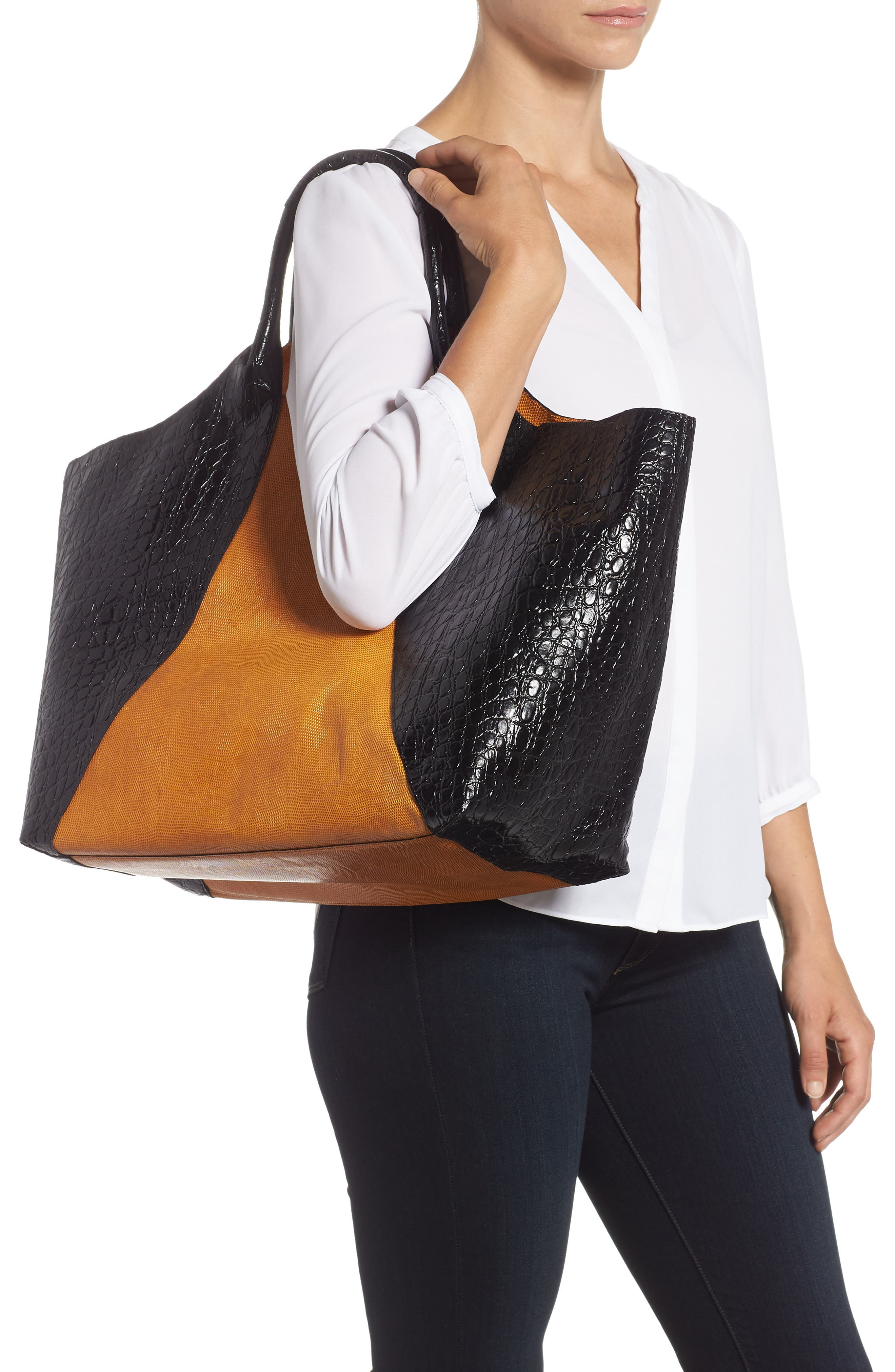 Embossed Leather Tote,                             Alternate thumbnail 2, color,                             BLACK
