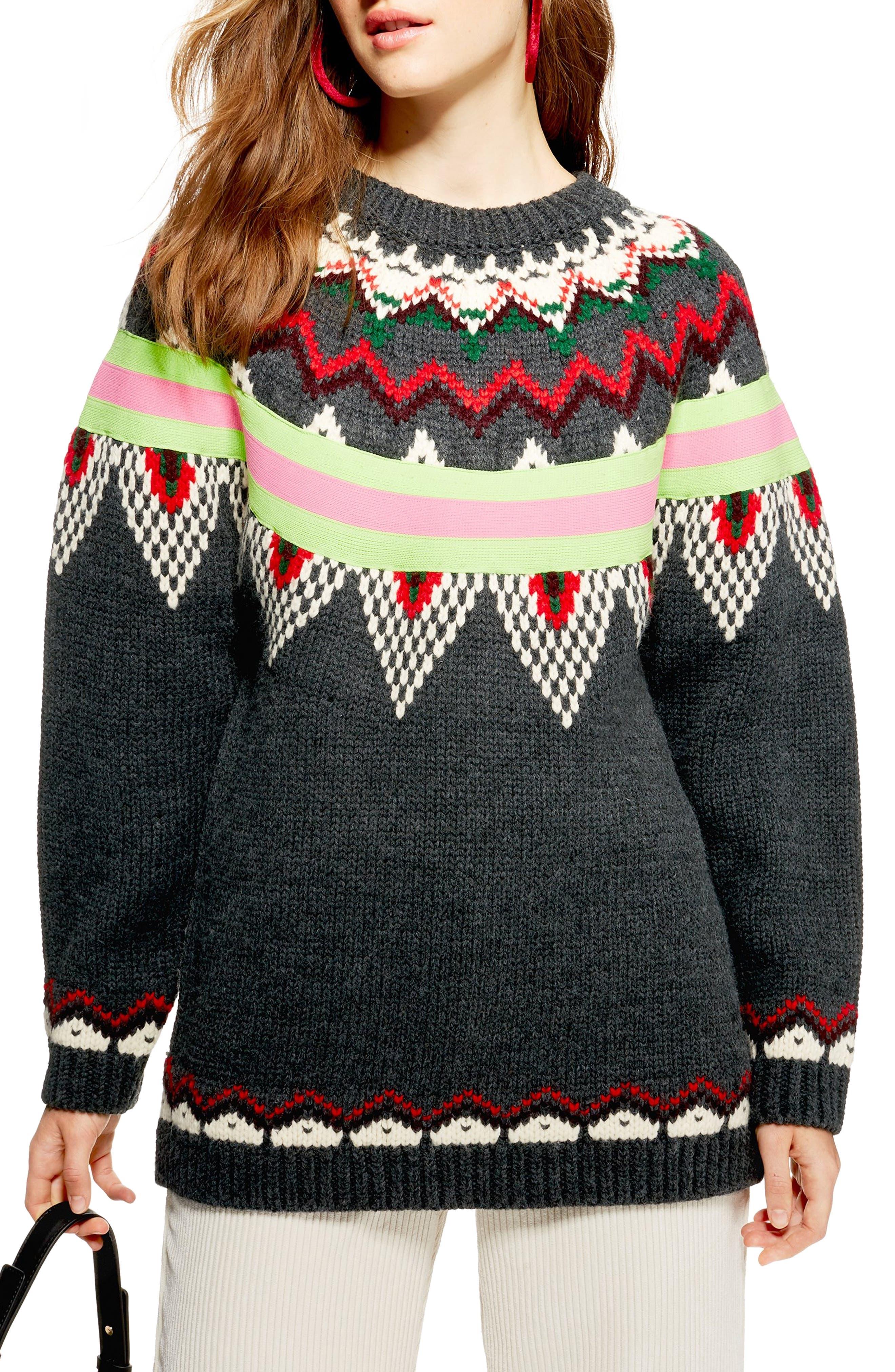 Fluro Fair Isle Sweater,                             Main thumbnail 1, color,                             021