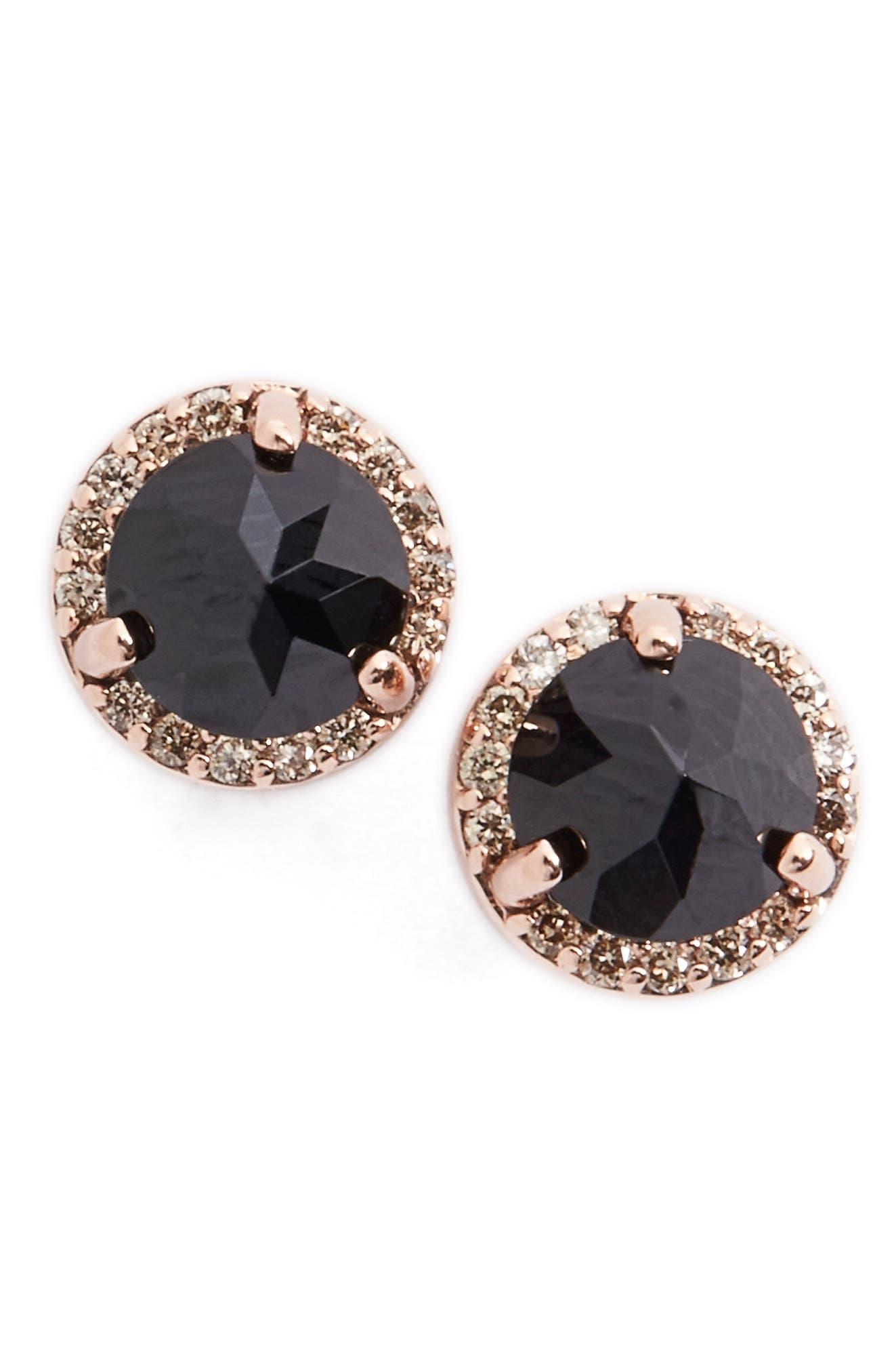 Black Spinel& ChampagneDiamond Rosette Stud Earrings,                             Main thumbnail 1, color,                             001