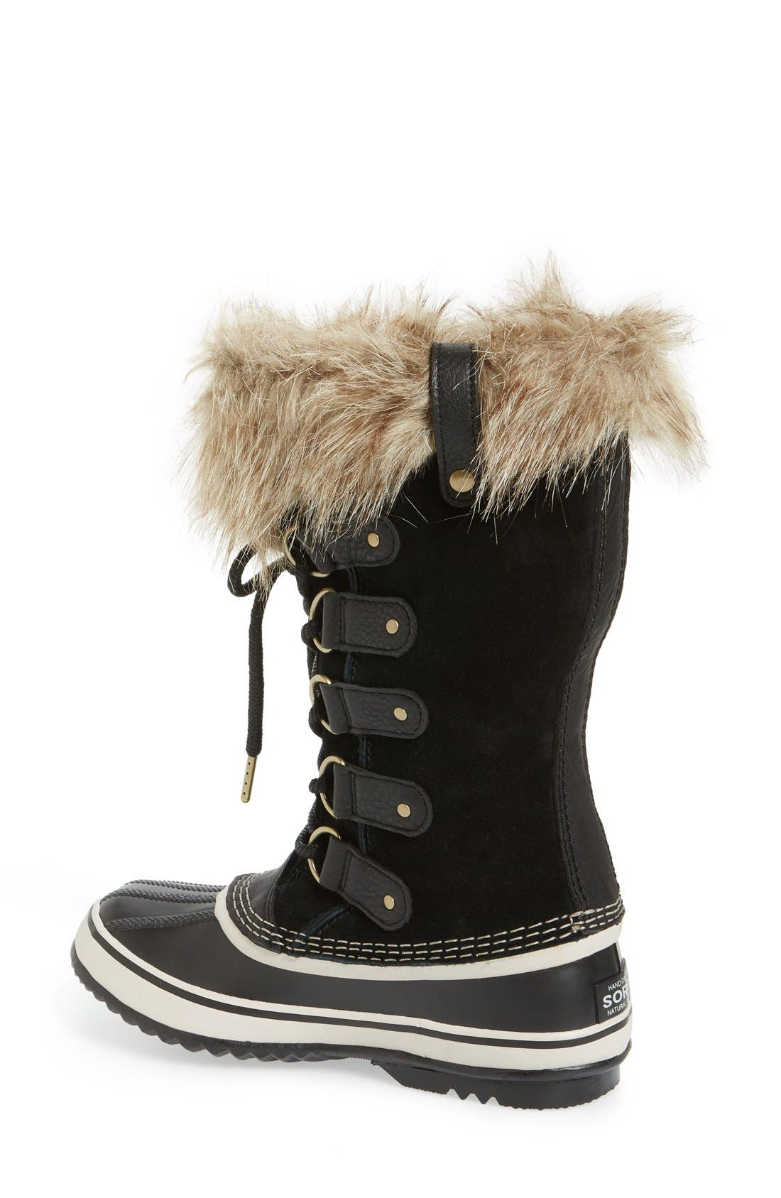 'Joan of Arctic' Waterproof Snow Boot,                             Alternate thumbnail 2, color,                             BLACK/ STONE