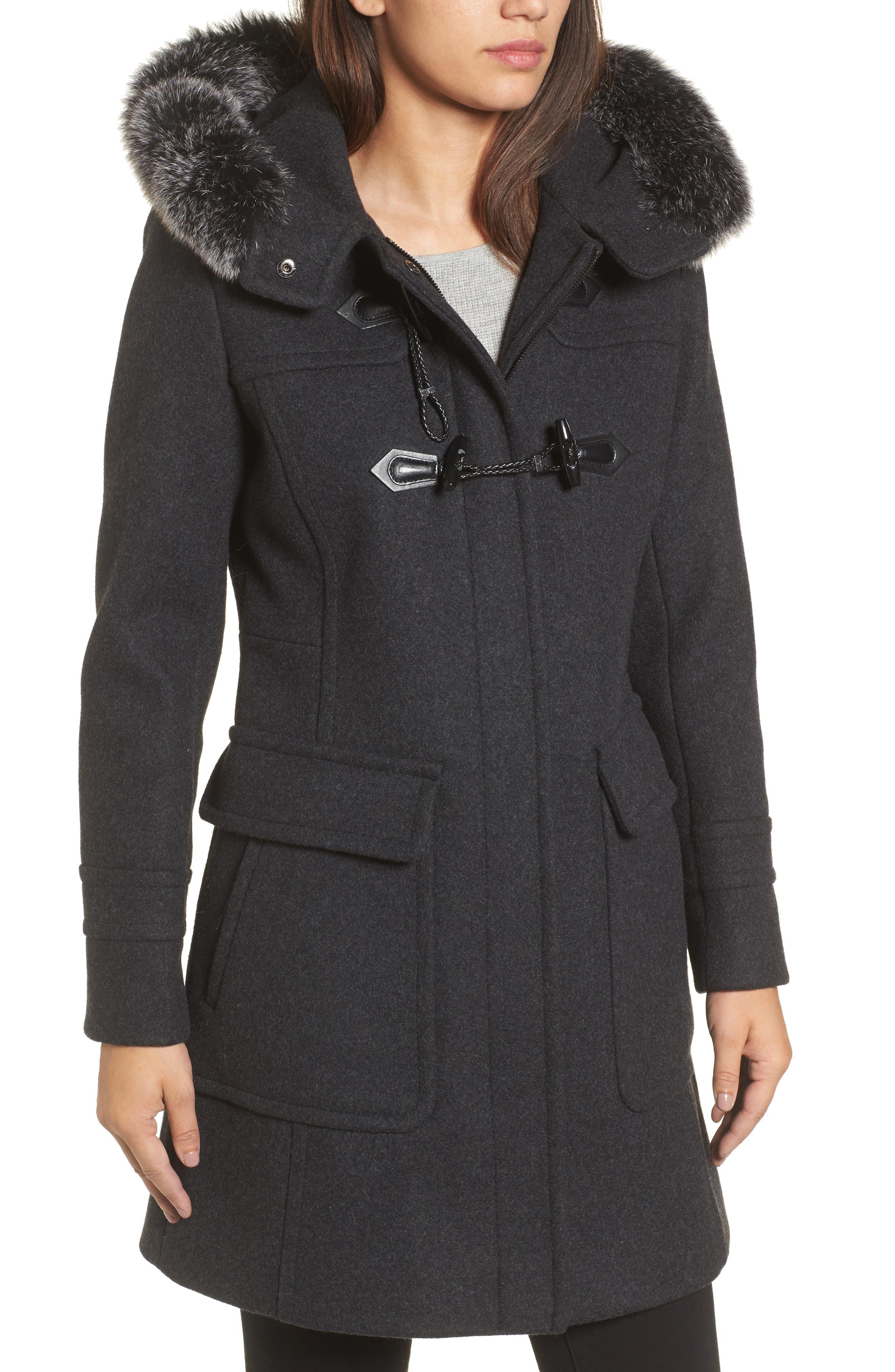 Connie Duffle Coat with Genuine Fox Fur,                             Alternate thumbnail 4, color,                             022