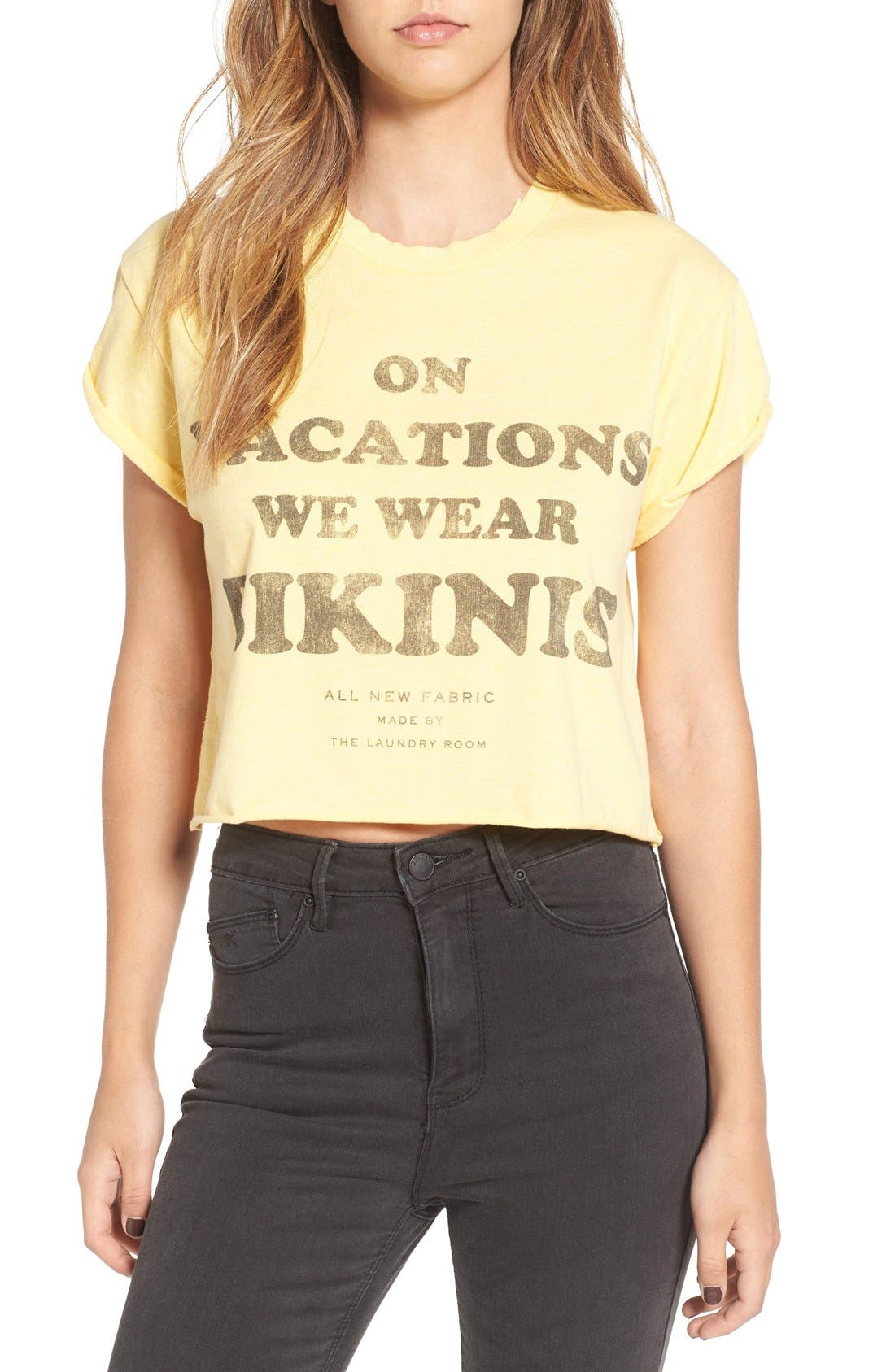 'On Vacations We Wear Bikinis' Crop Tee,                             Main thumbnail 1, color,                             700