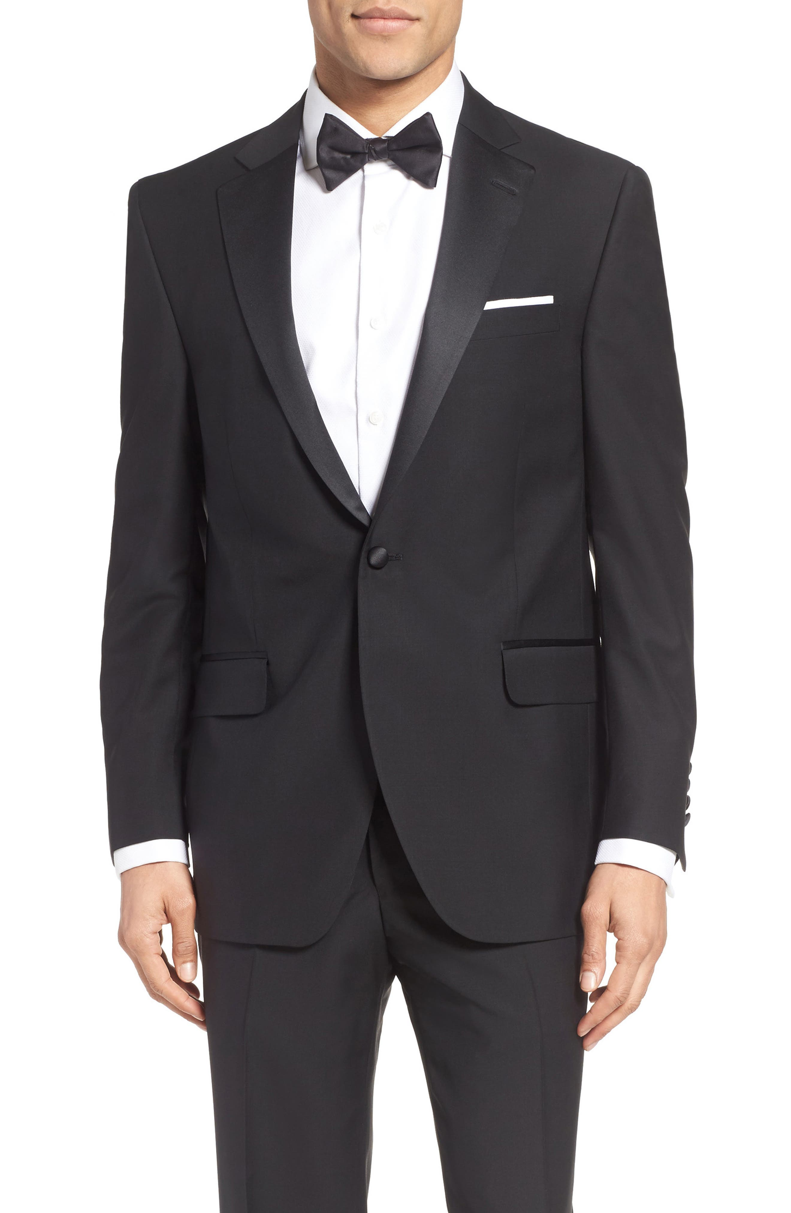 Classic Fit Wool & Mohair Tuxedo,                             Alternate thumbnail 5, color,                             001