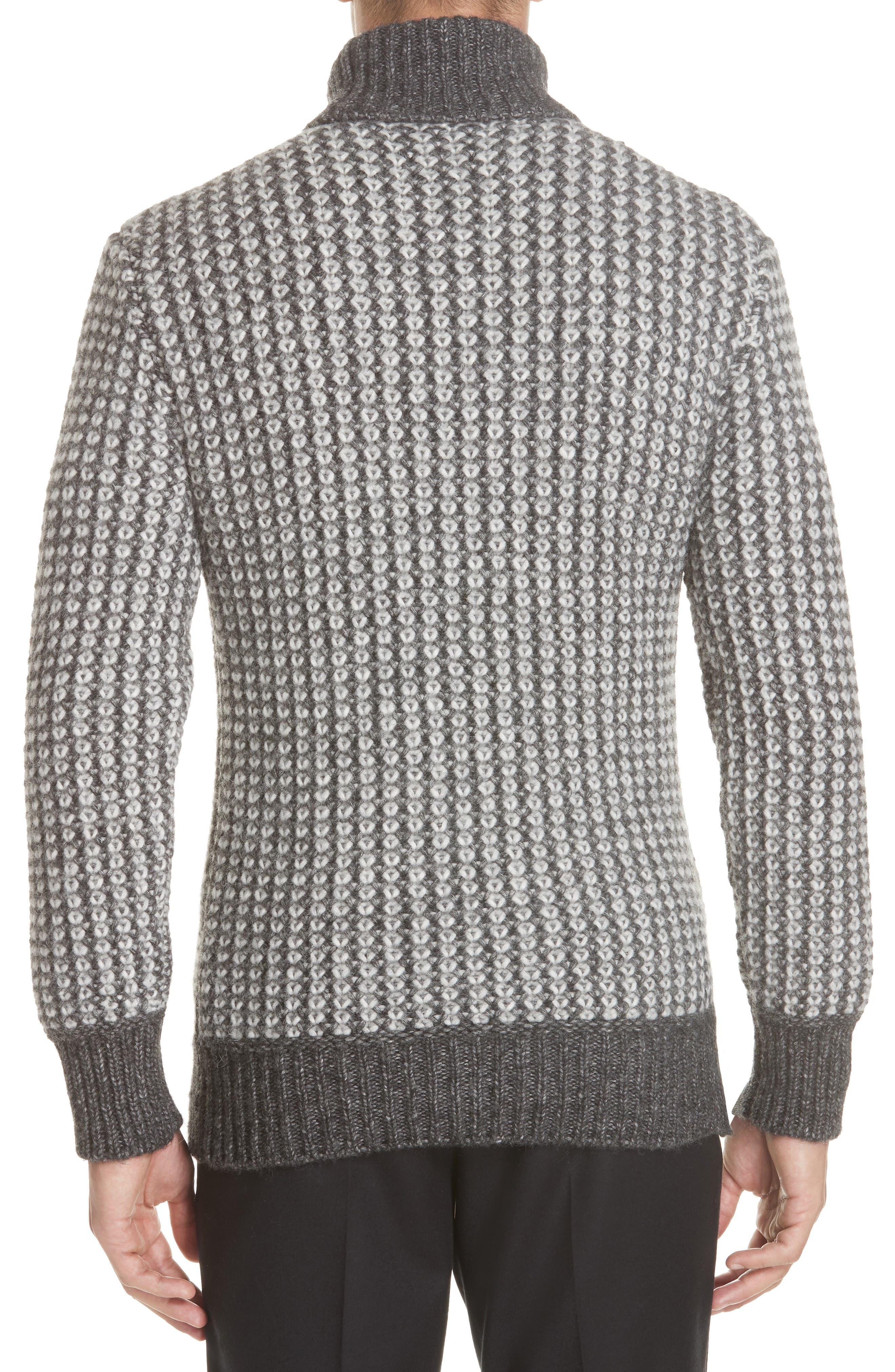 Cotton Blend Turtleneck Sweater,                             Alternate thumbnail 2, color,                             GREY