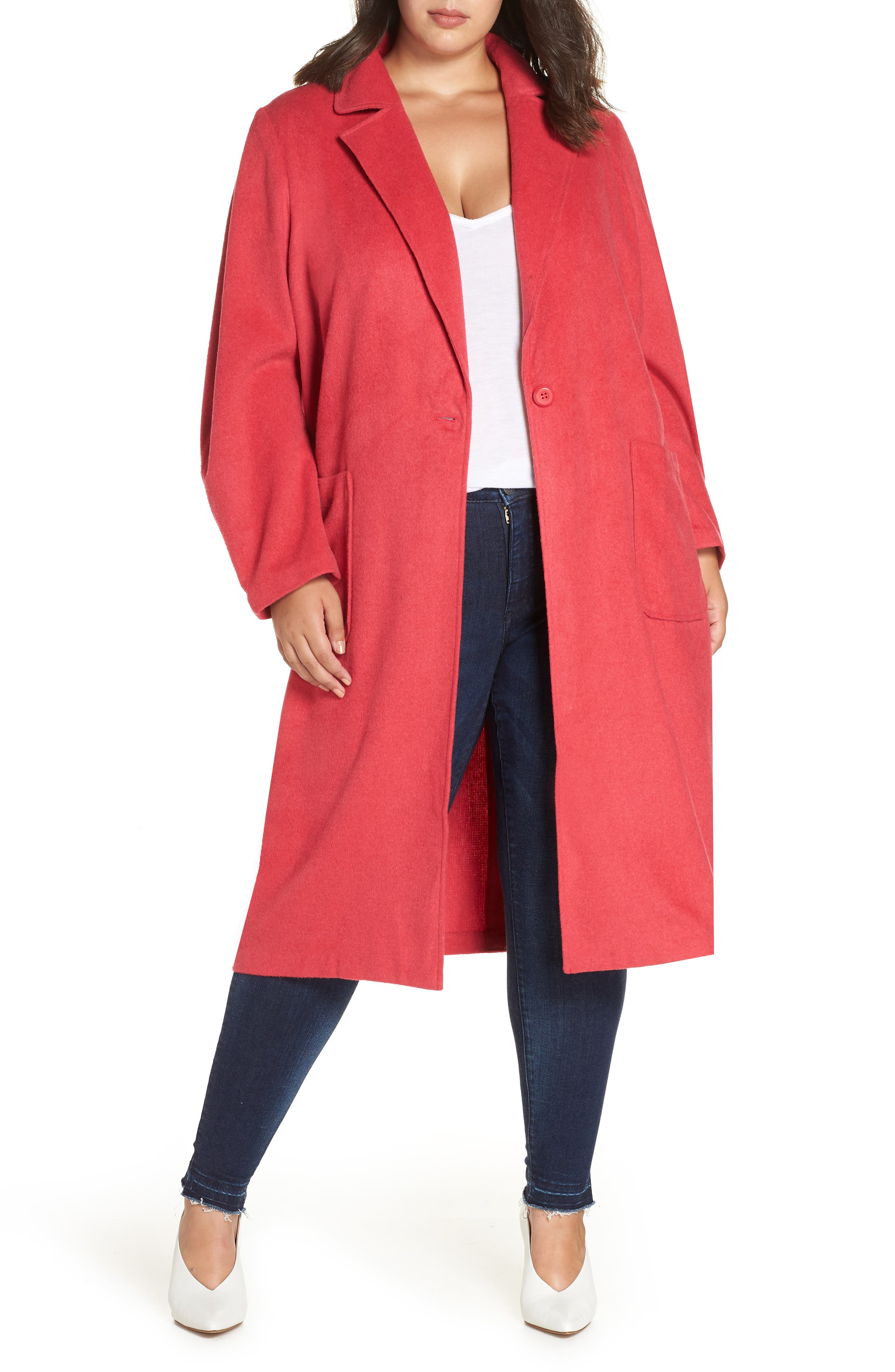 Single Button Long Jacket,                             Main thumbnail 1, color,                             PINK TEABERRY