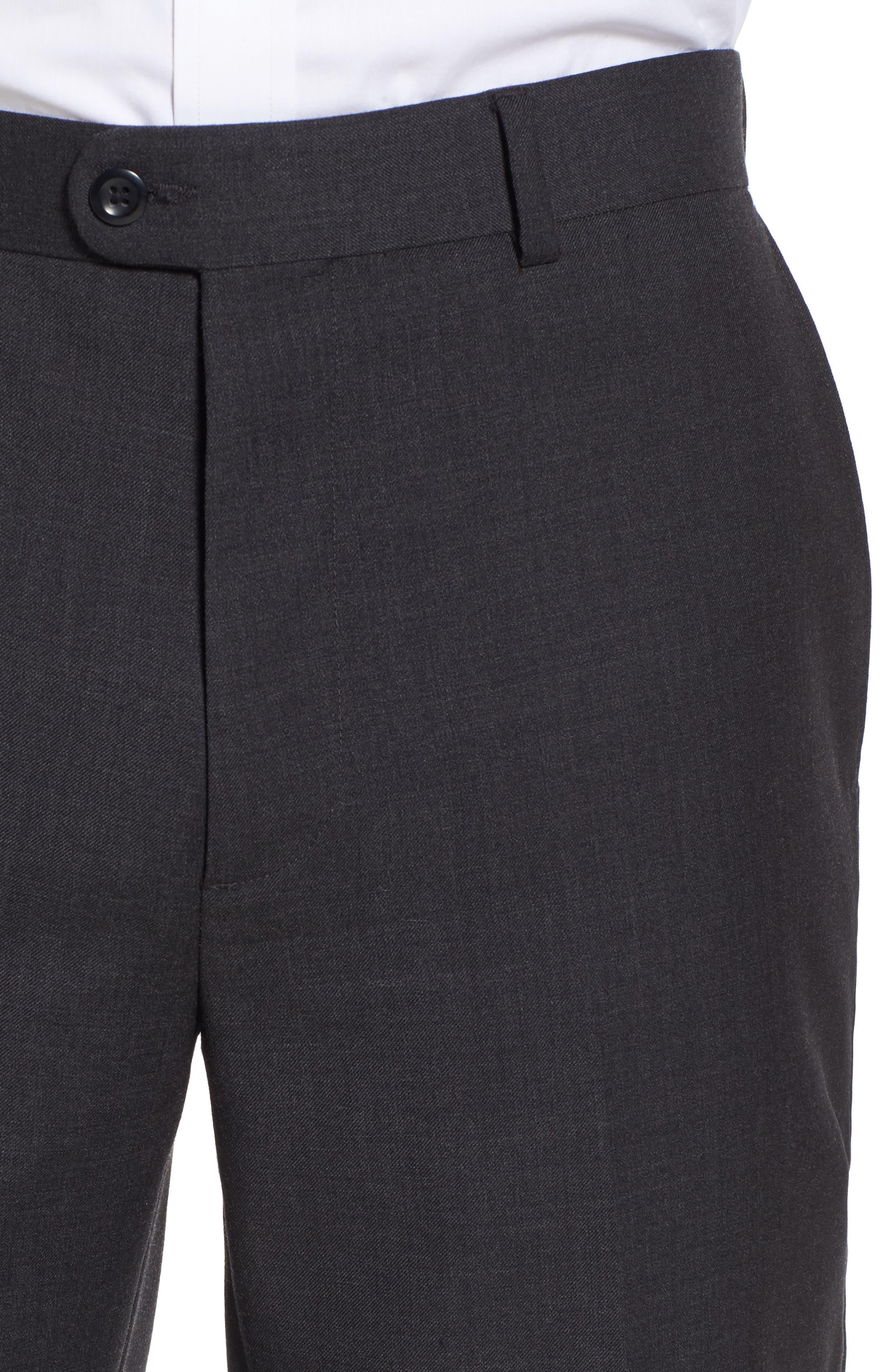 Gab Trim Fit Flat Front Pants,                             Alternate thumbnail 5, color,                             002