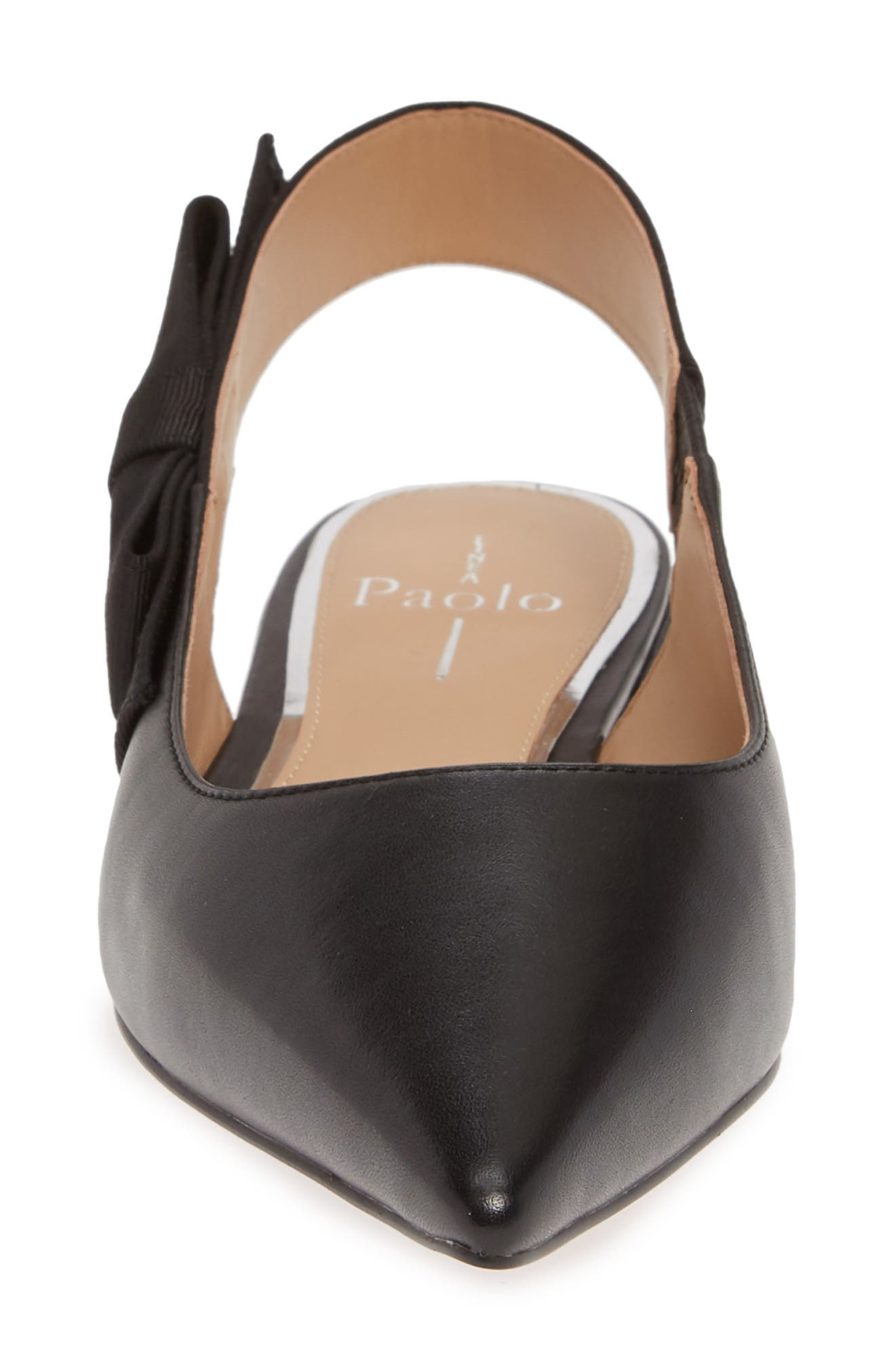 Darcy Bow Slingback Flat,                             Alternate thumbnail 4, color,                             BLACK LEATHER