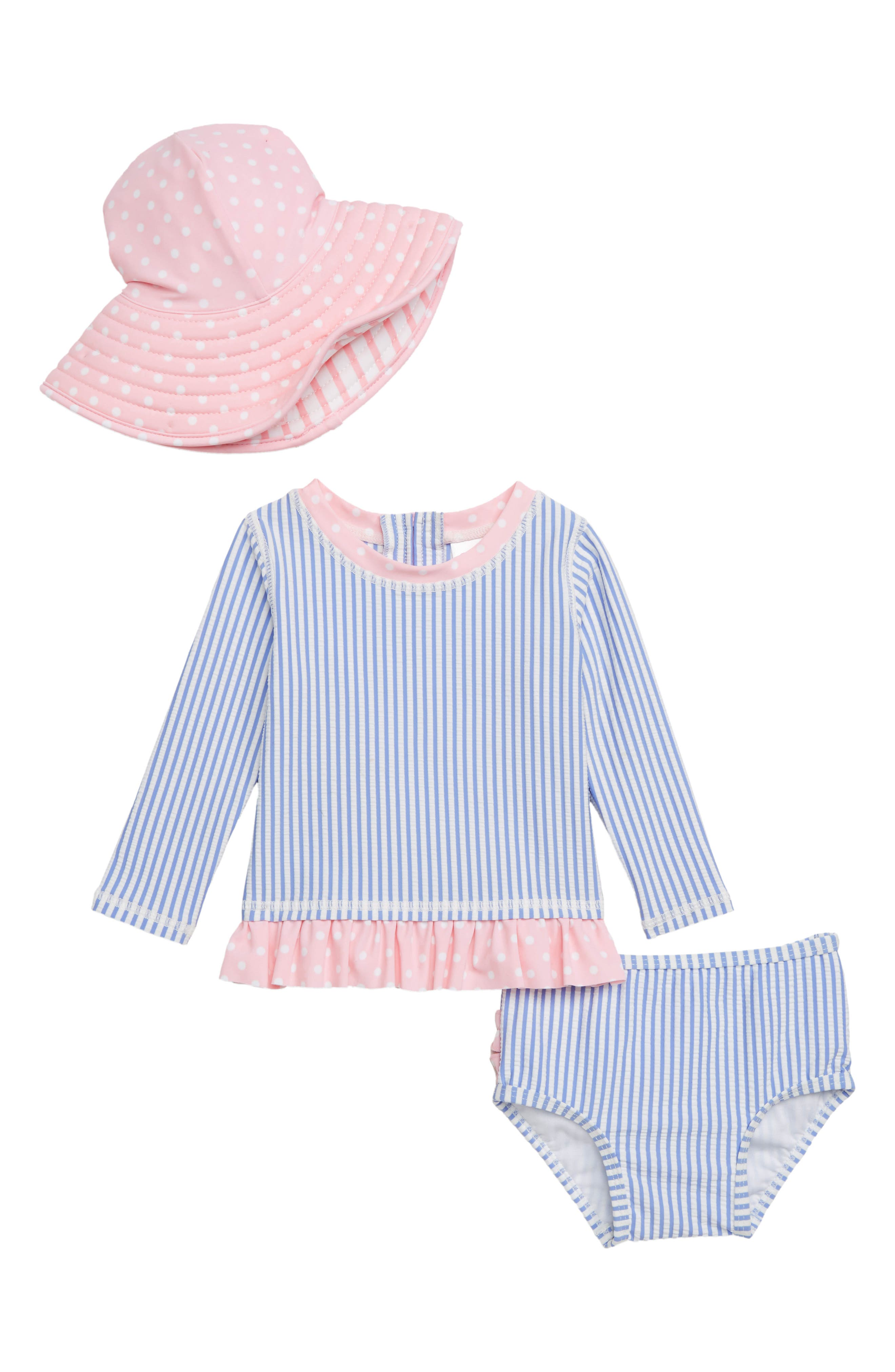 Infant Girls Rufflebutts Seersucker ThreePiece Rashguard Swimsuit With Hat Size 612M  Blue