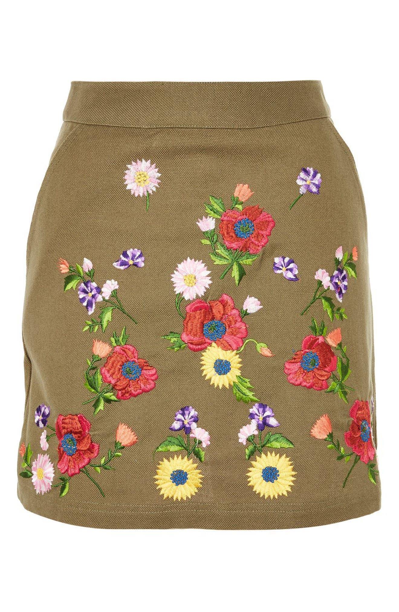 Garden Embroidered Miniskirt,                             Alternate thumbnail 6, color,