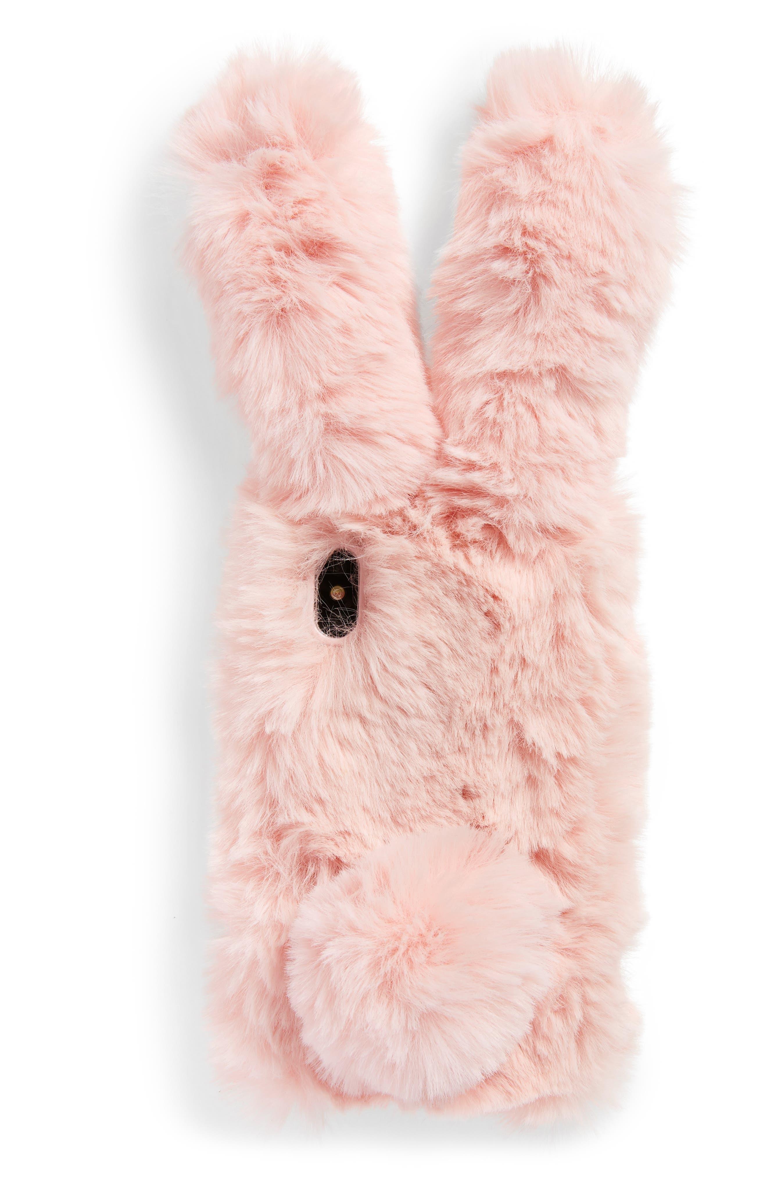 Bunny Faux Fur iPhone X Case,                             Main thumbnail 1, color,                             650
