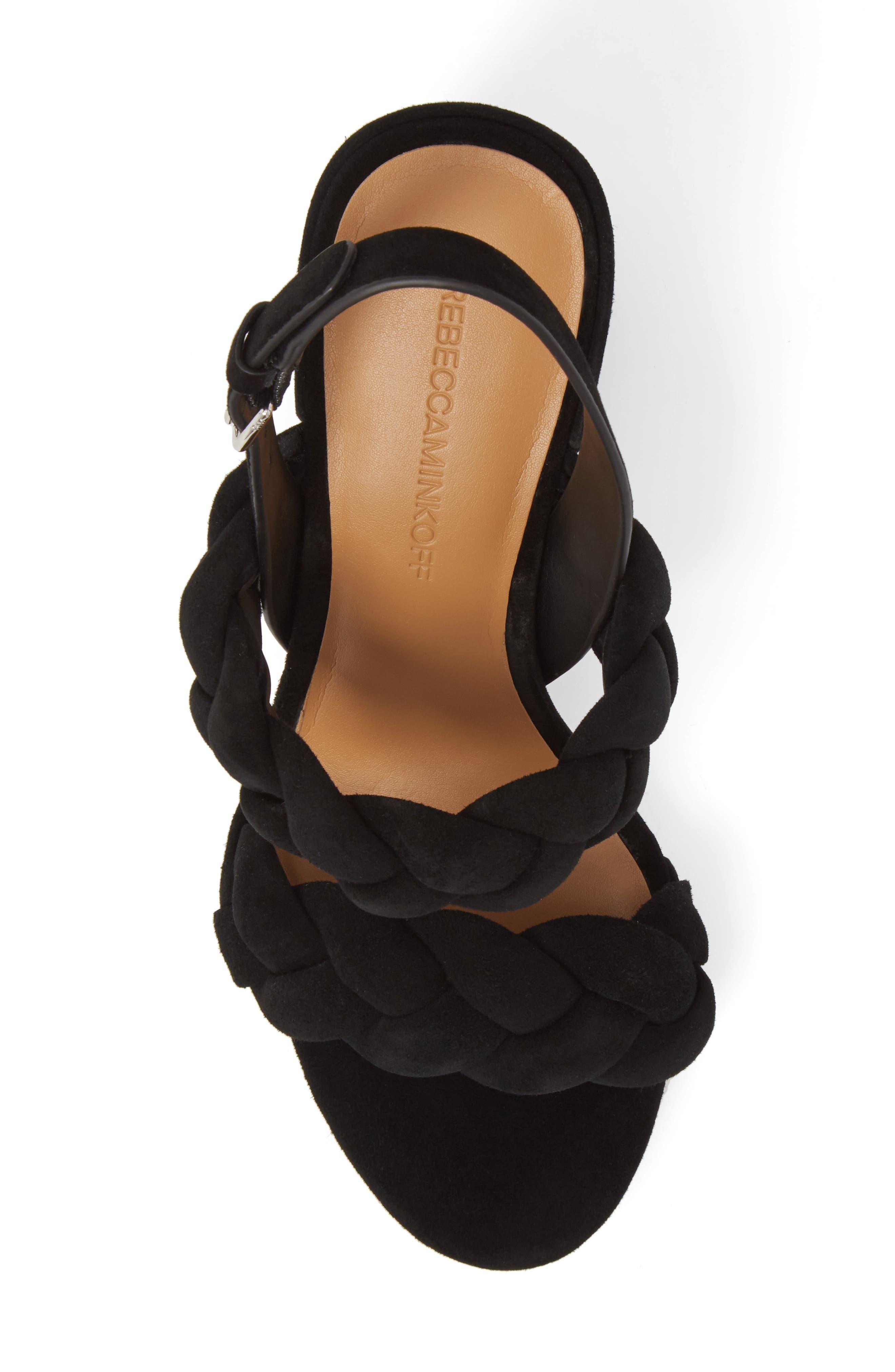 Candance Block Heel Sandal,                             Alternate thumbnail 5, color,                             BLACK LEATHER