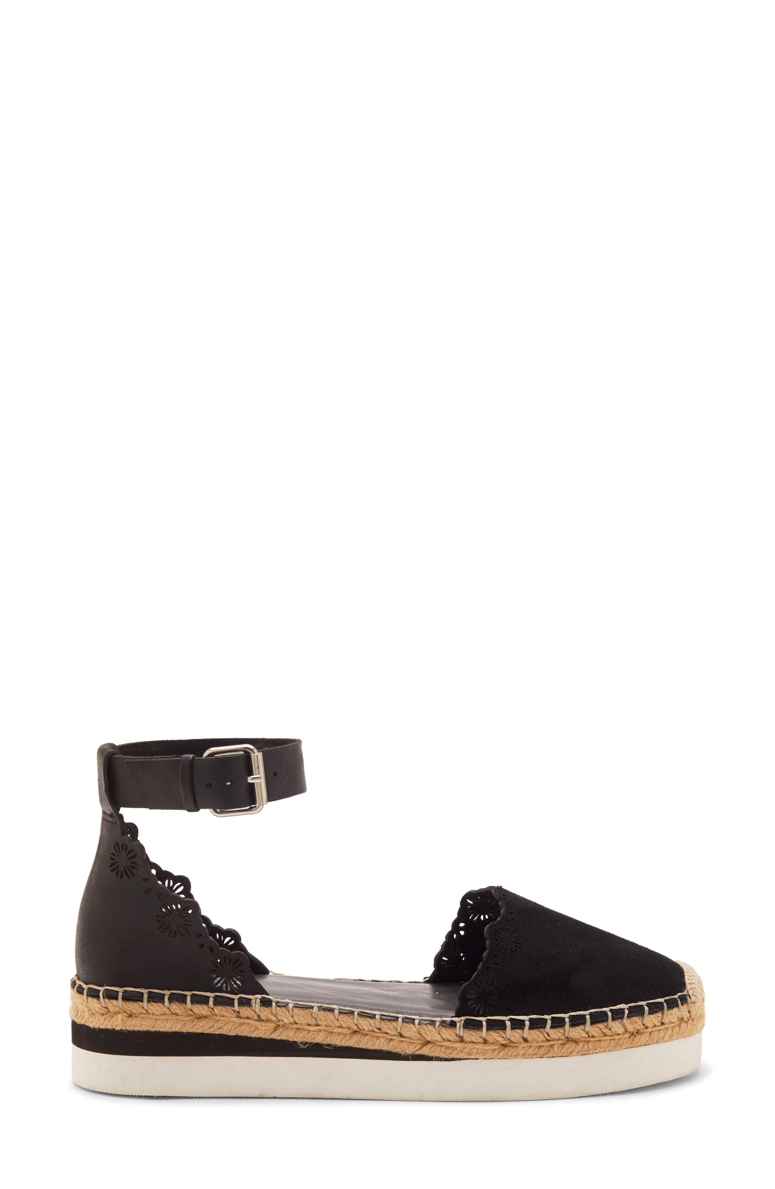 VINCE CAMUTO,                             Breshan Ankle Strap Espadrille Wedge,                             Alternate thumbnail 3, color,                             BLACK SUEDE