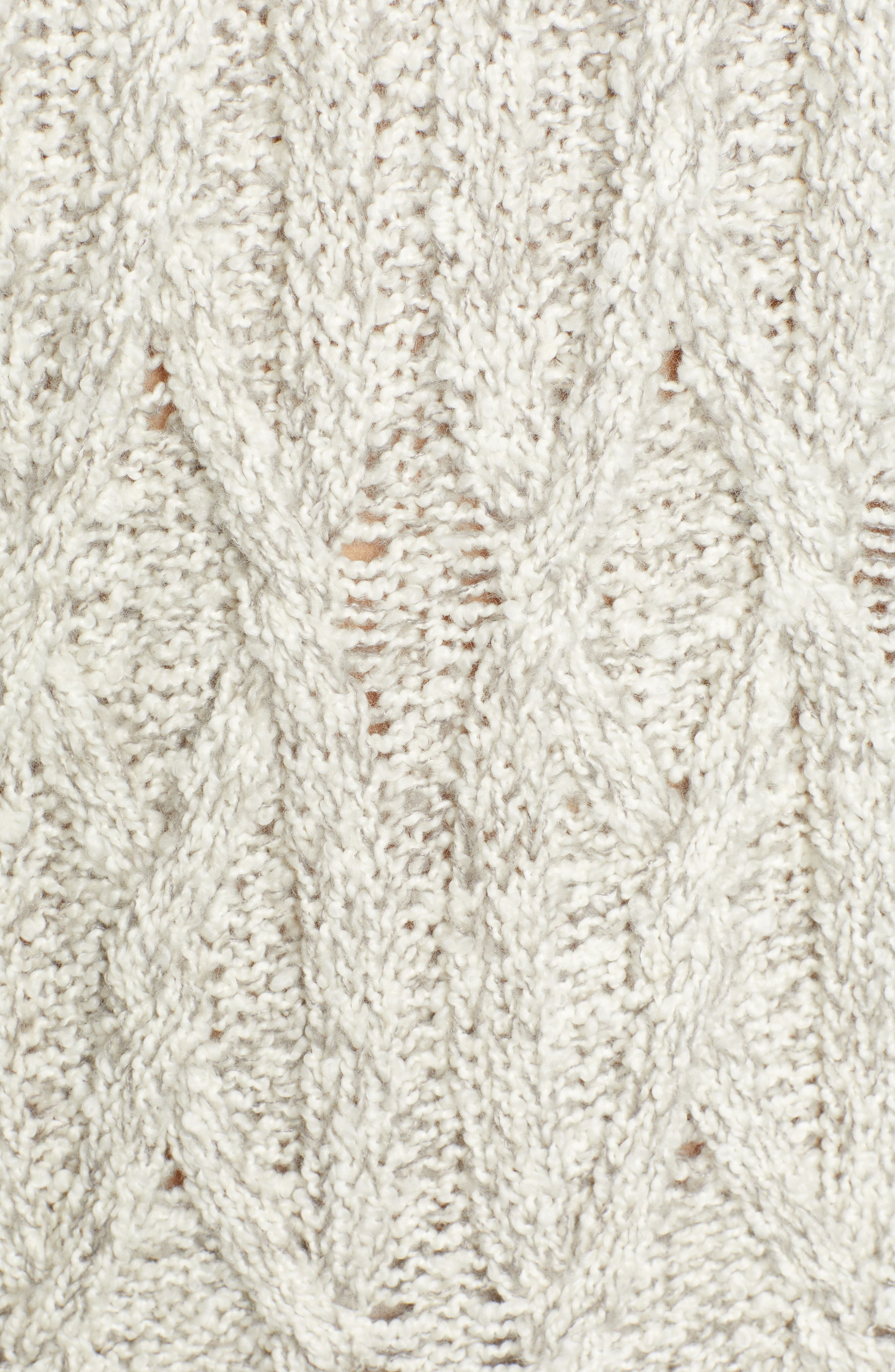Cable Knit Sweater Dress,                             Alternate thumbnail 6, color,                             GREY PEARL MARL