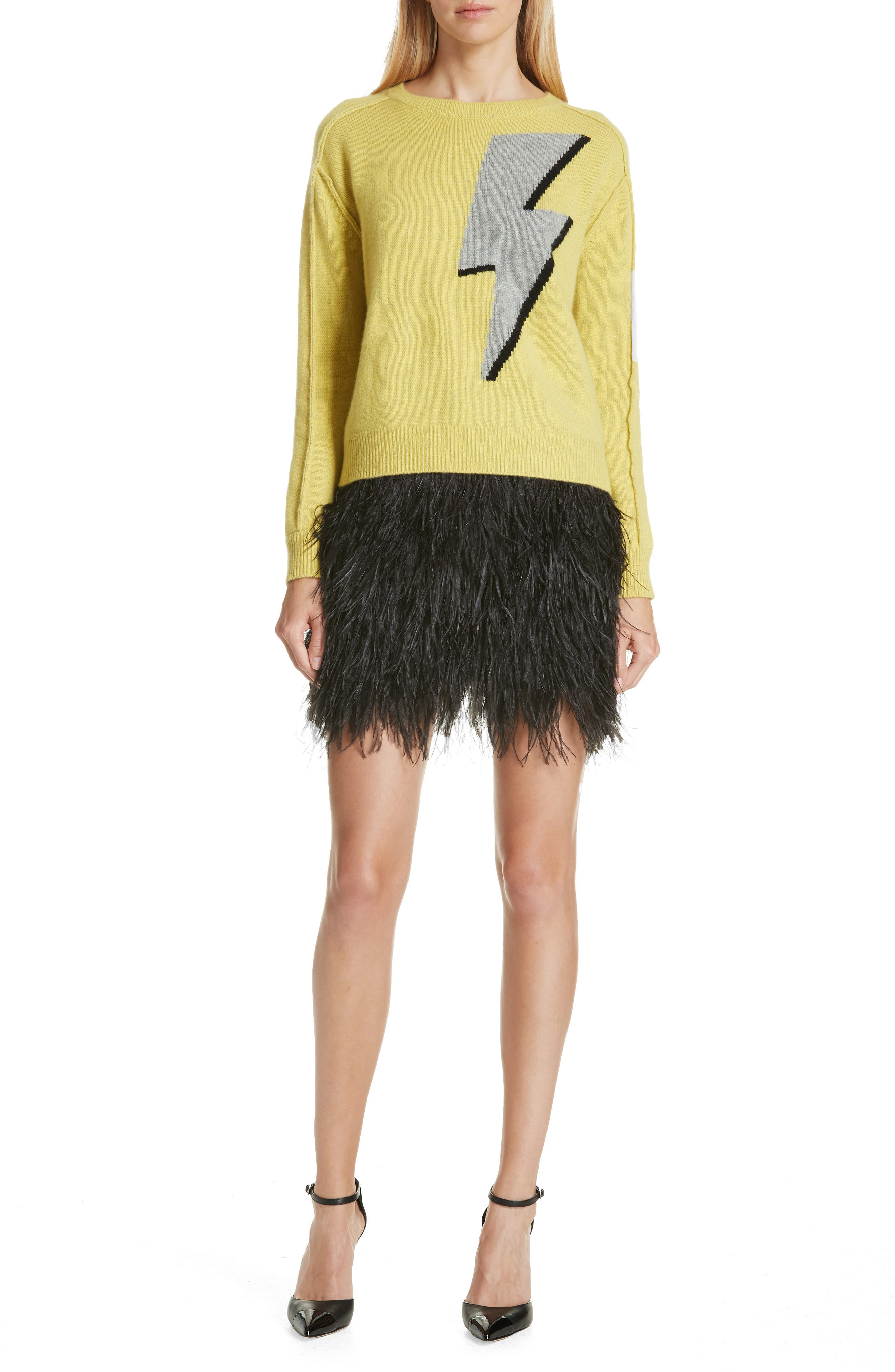 Ostrich Feather Miniskirt,                             Alternate thumbnail 7, color,                             001