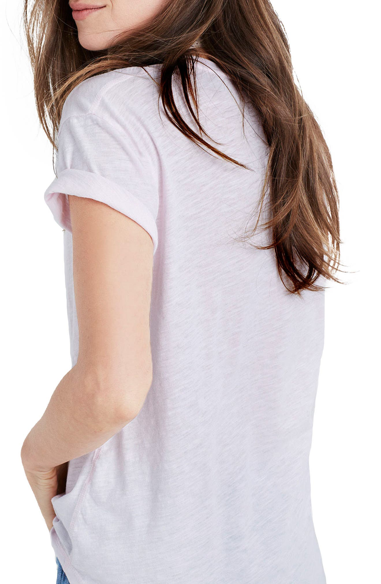 Whisper Cotton V-Neck Pocket Tee,                             Alternate thumbnail 119, color,