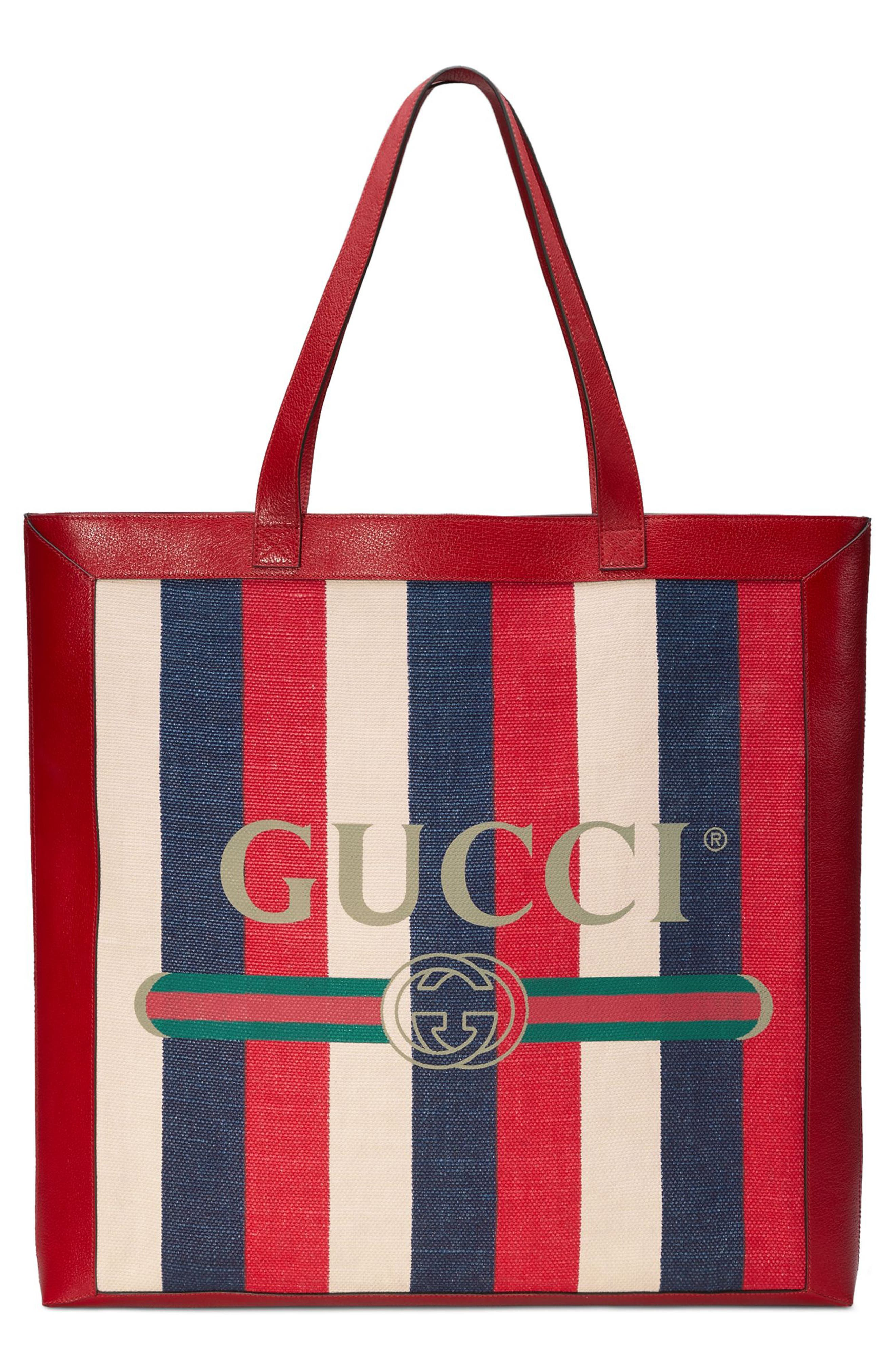 Stripe Canvas Tote,                         Main,                         color, HIBISCUS RED/ WHITE/ BLUE
