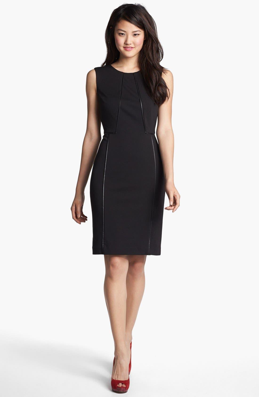 Faux Leather Trim Sheath Dress,                         Main,                         color, 001