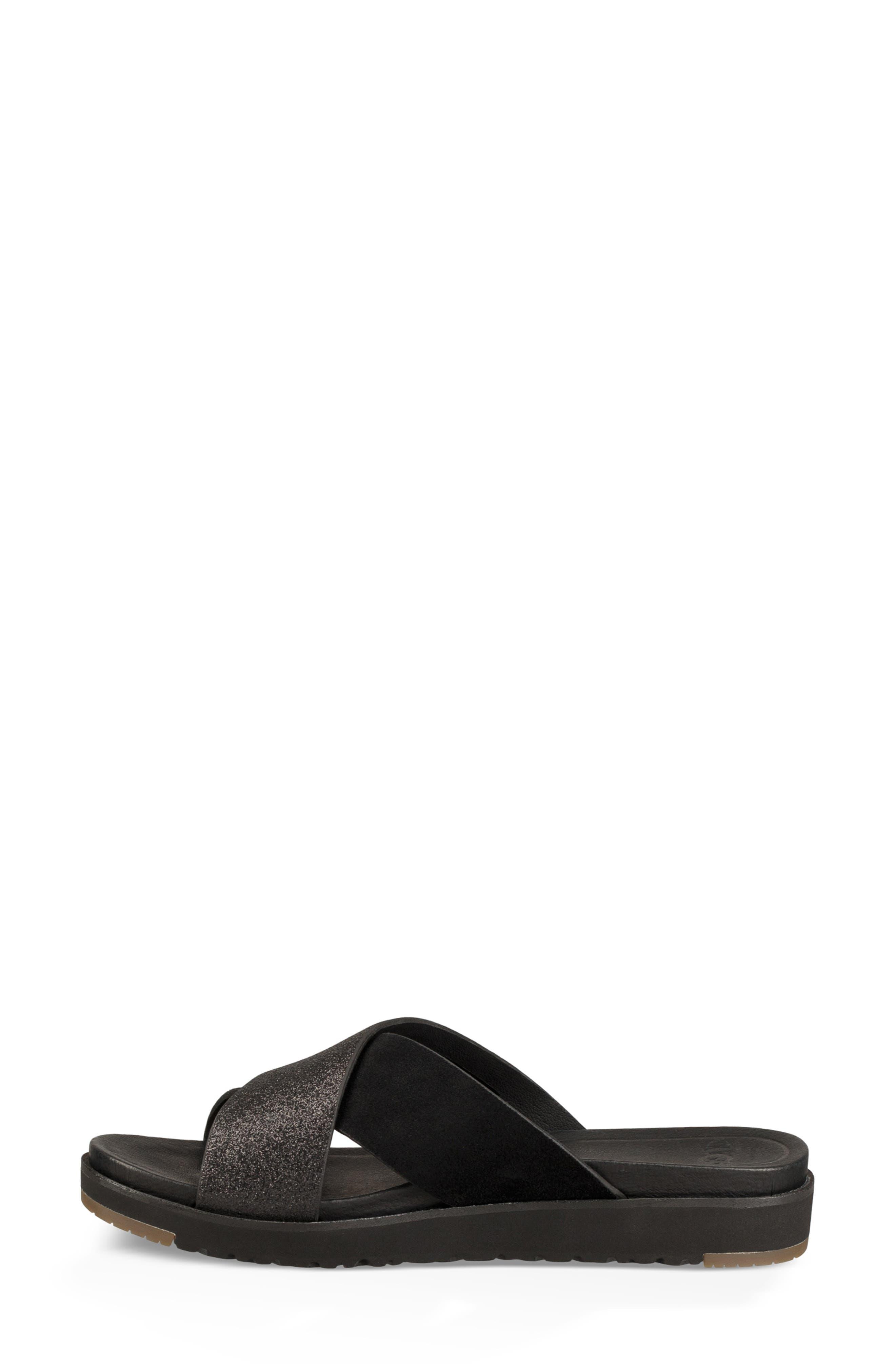 Kari Glitter Slide Sandal,                             Alternate thumbnail 6, color,                             BLACK LEATHER