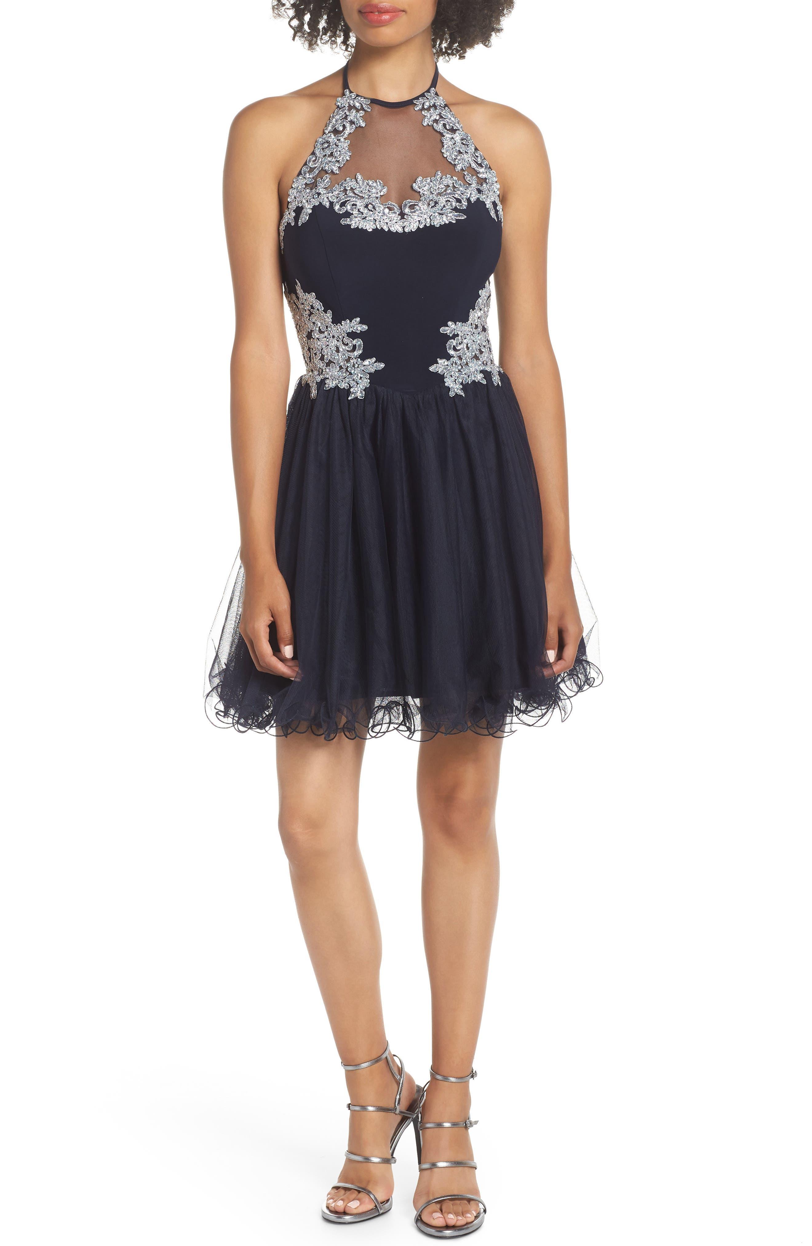 Blondie Nites Applique Bodice Fit & Flare Halter Dress, Blue