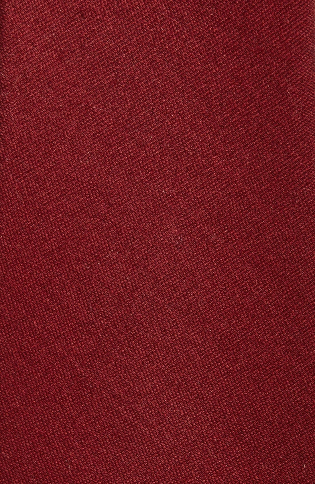 Wool & Silk Solid Tie,                             Alternate thumbnail 2, color,                             BURGUNDY