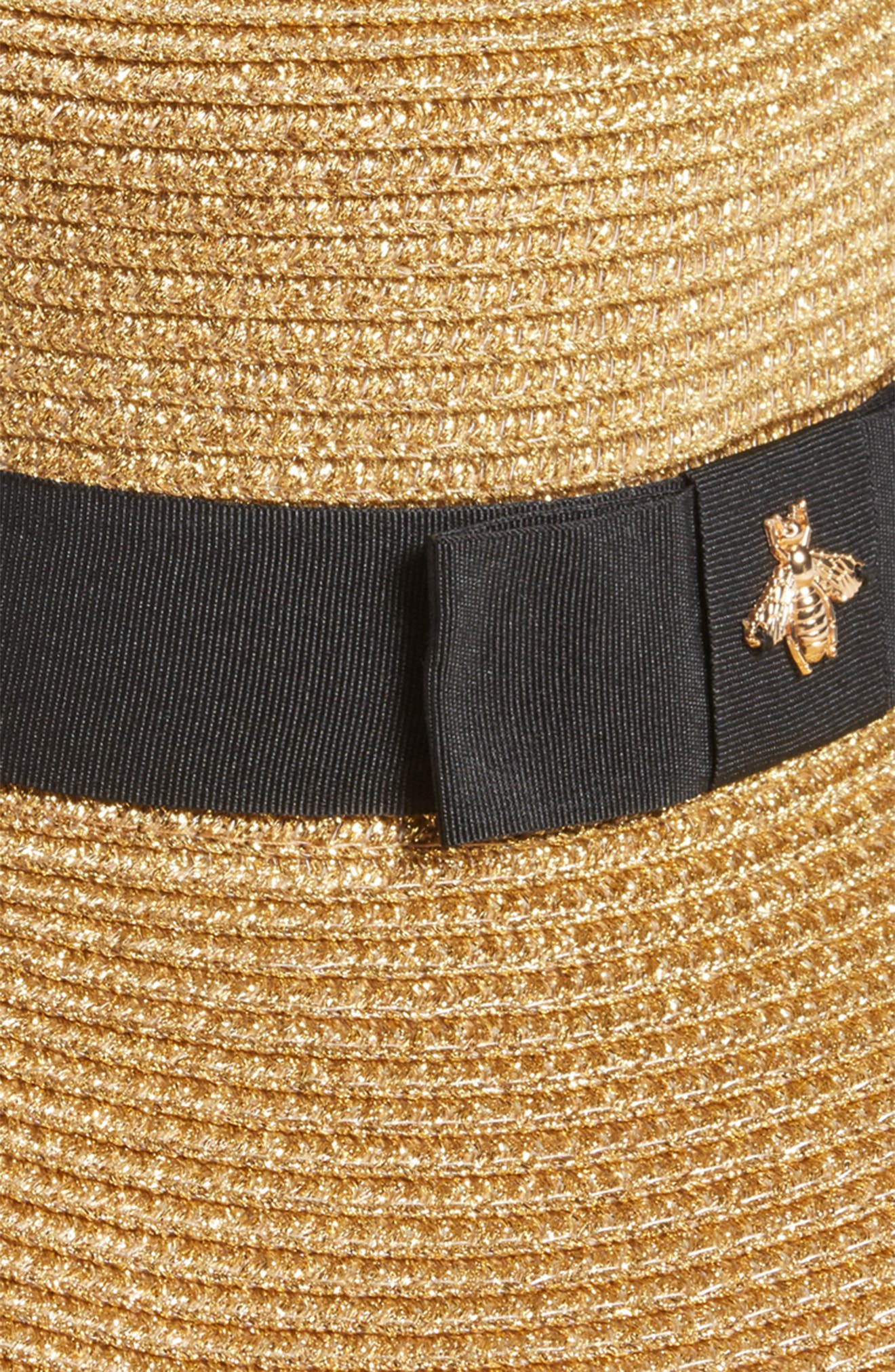 Glitter Bee Boater Hat,                             Alternate thumbnail 2, color,                             250