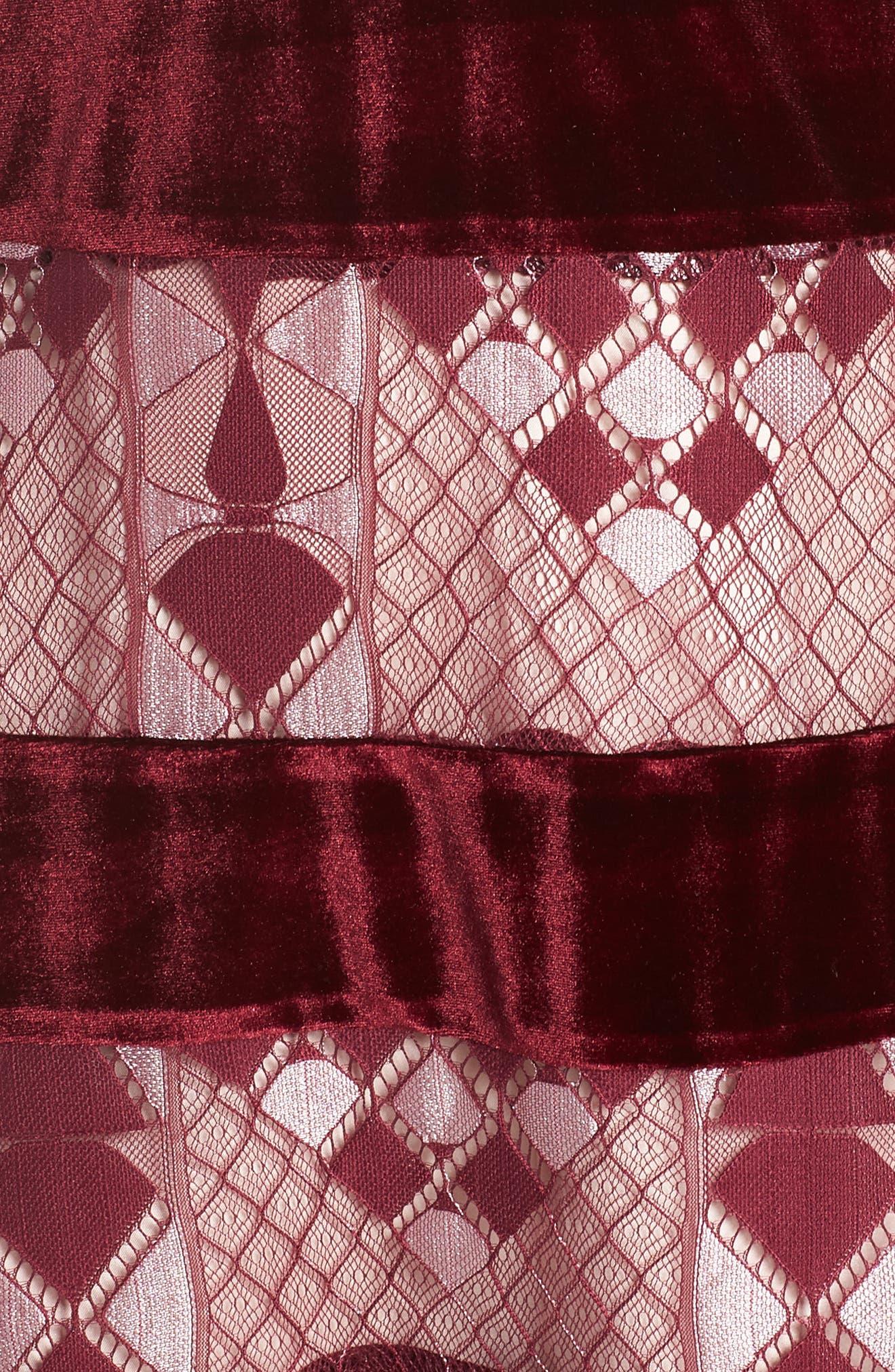 Aria Zulu Lace & Velvet Midi Dress,                             Alternate thumbnail 6, color,                             BURGUNDY
