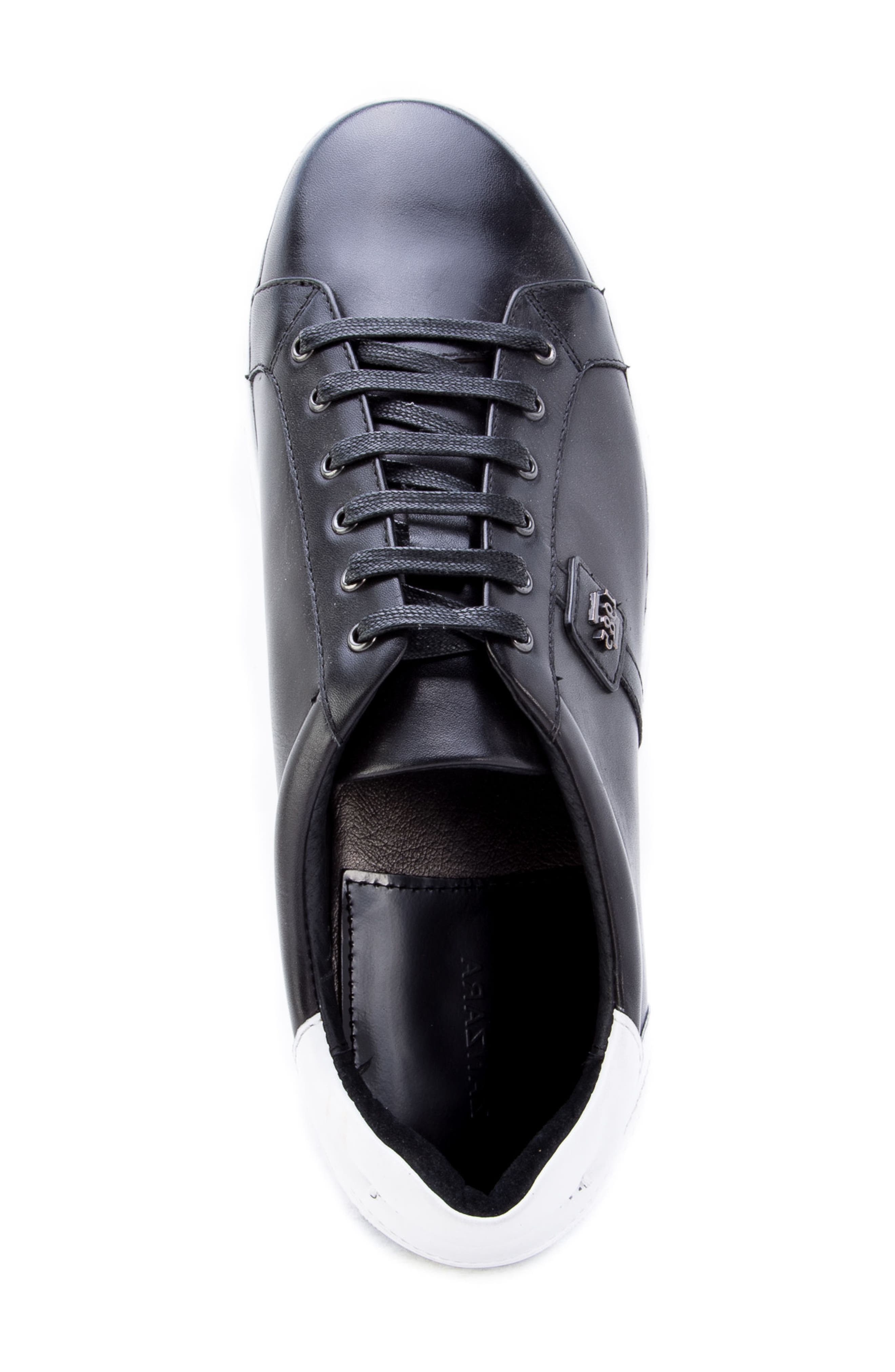 Scheffer Low Top Sneaker,                             Alternate thumbnail 5, color,                             BLACK LEATHER