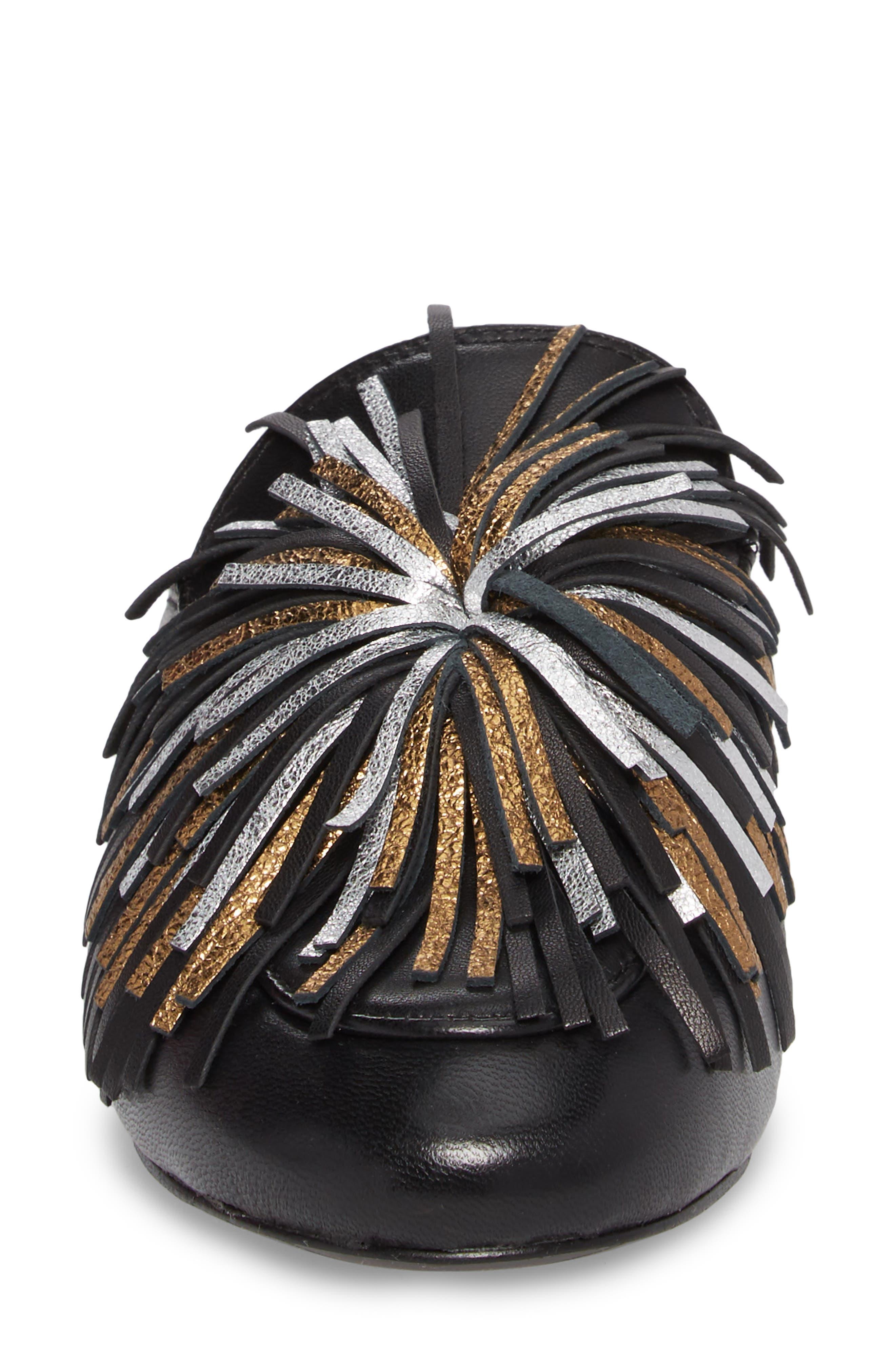 Wallice Firework Fringe Loafer Mule,                             Alternate thumbnail 4, color,                             009