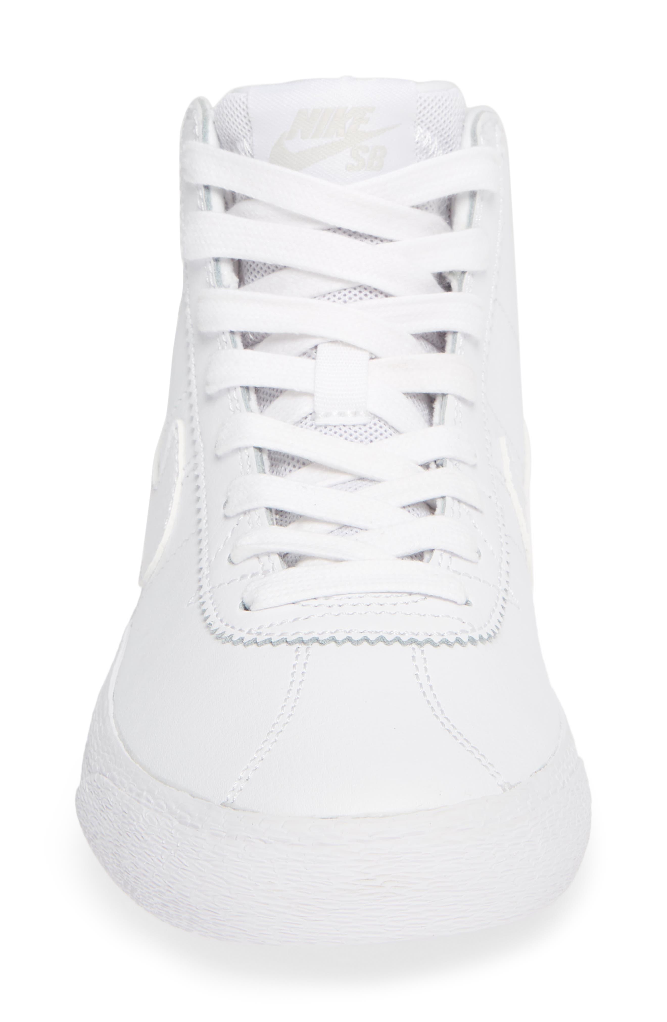 SB Bruin Hi Skateboarding Sneaker,                             Alternate thumbnail 4, color,                             WHITE/ WHITE/ VAST GREY