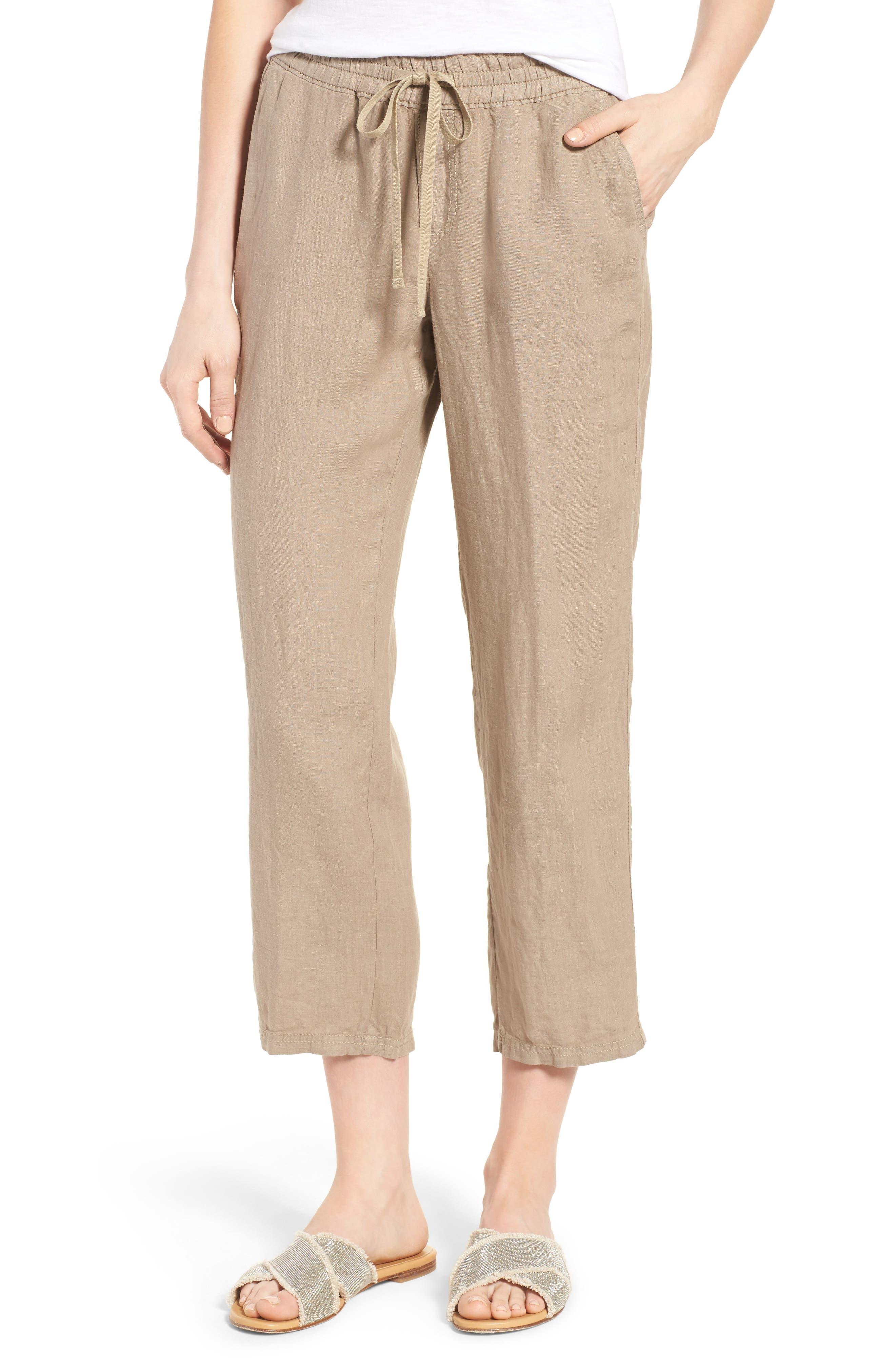 Linen Crop Pants,                             Main thumbnail 4, color,