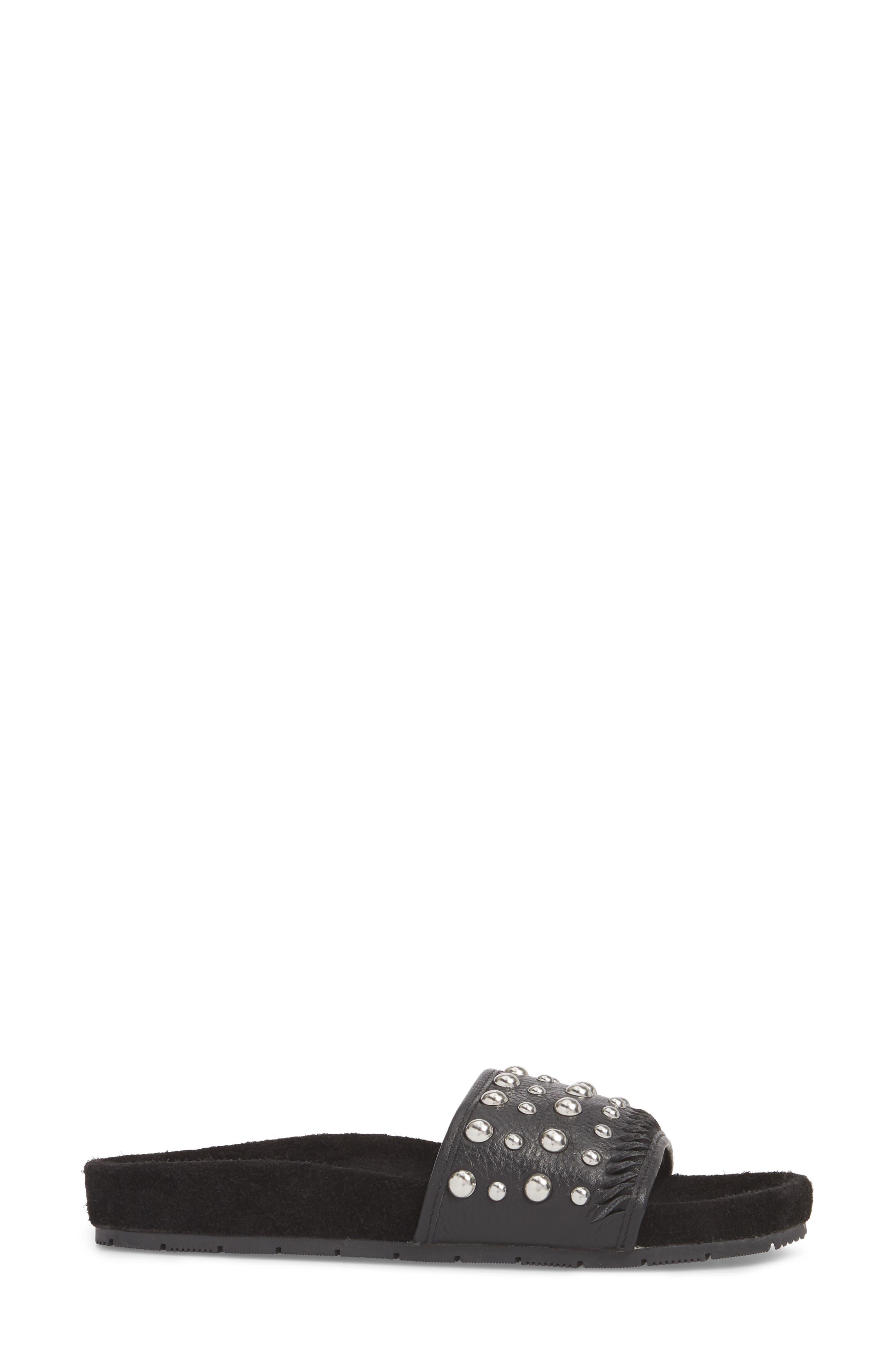 Nora Studded Slide Sandal,                             Alternate thumbnail 3, color,                             BLACK SUEDE
