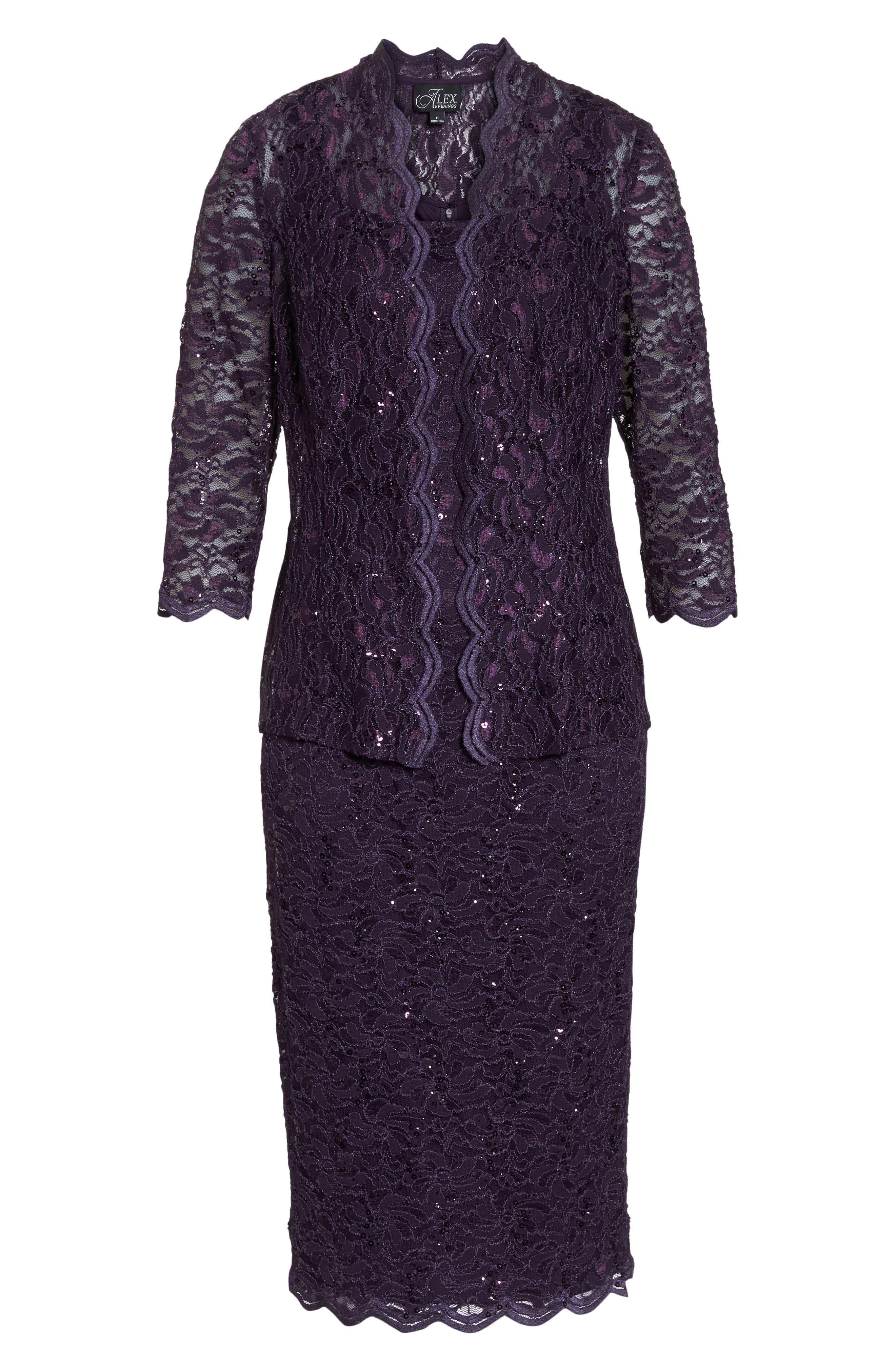 Lace Dress & Jacket,                             Alternate thumbnail 7, color,                             EGGPLANT