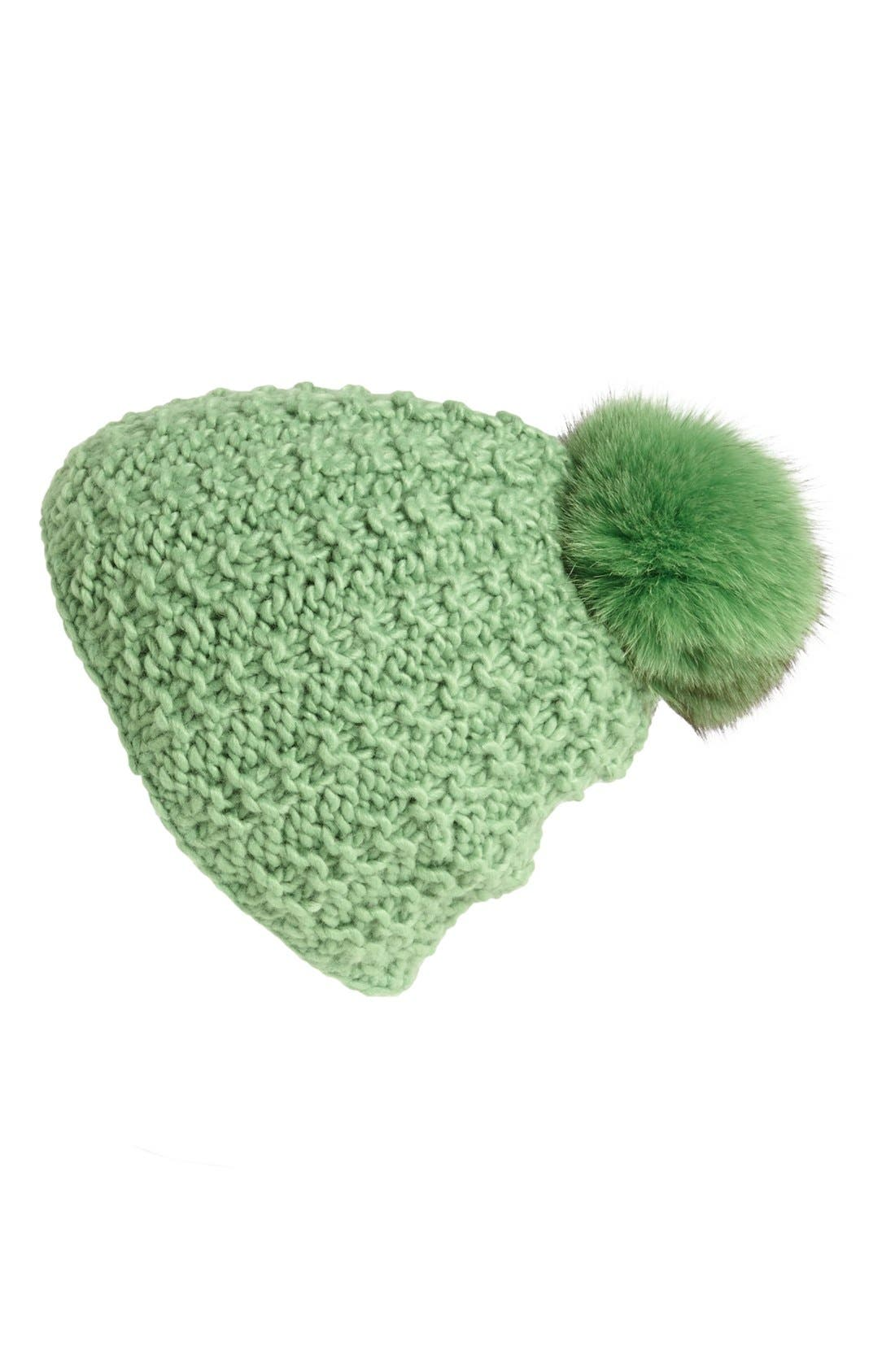 Genuine Fox Pompom Hat,                             Main thumbnail 9, color,
