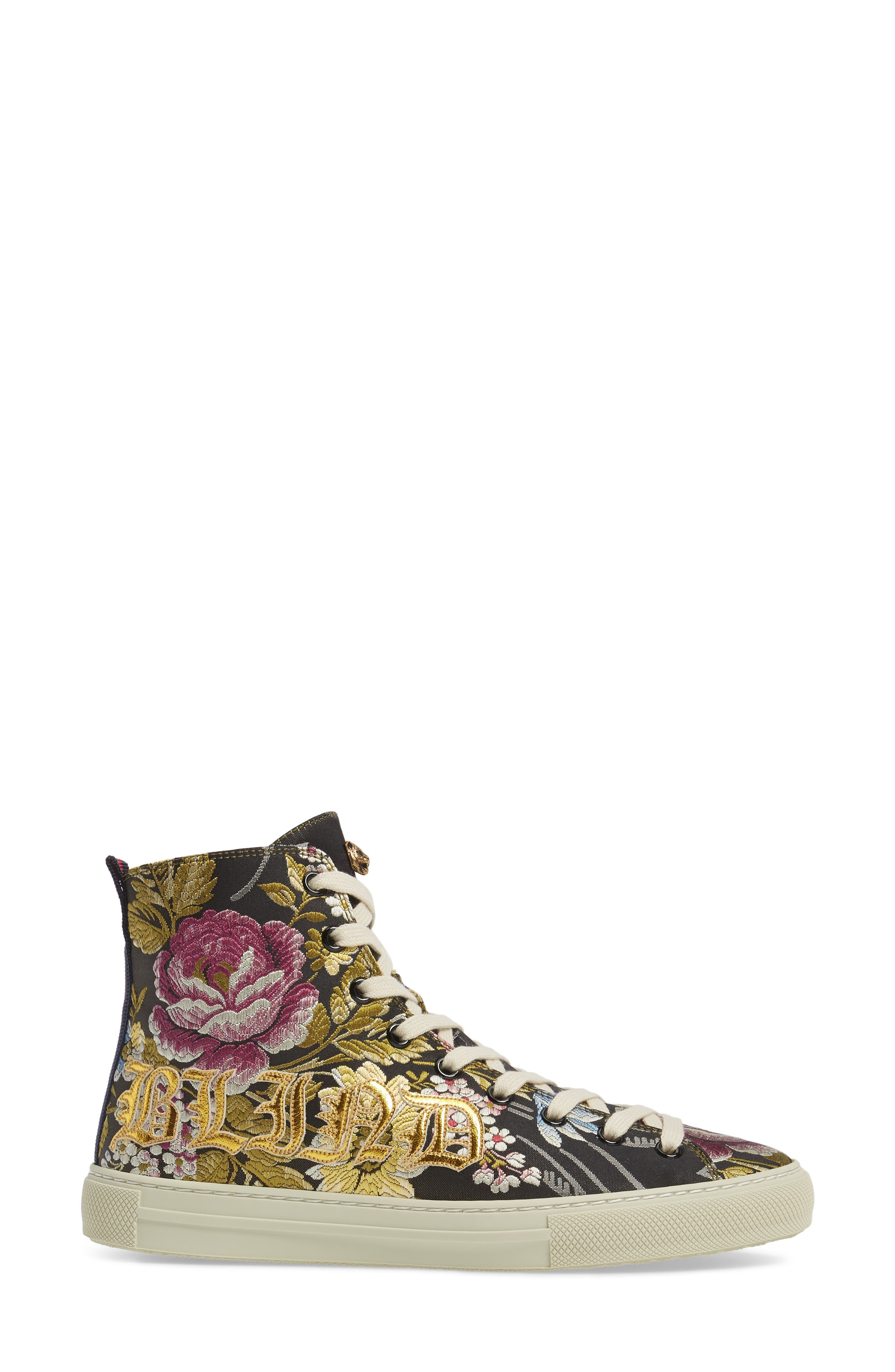 Floral High Top Sneaker,                             Alternate thumbnail 3, color,                             001