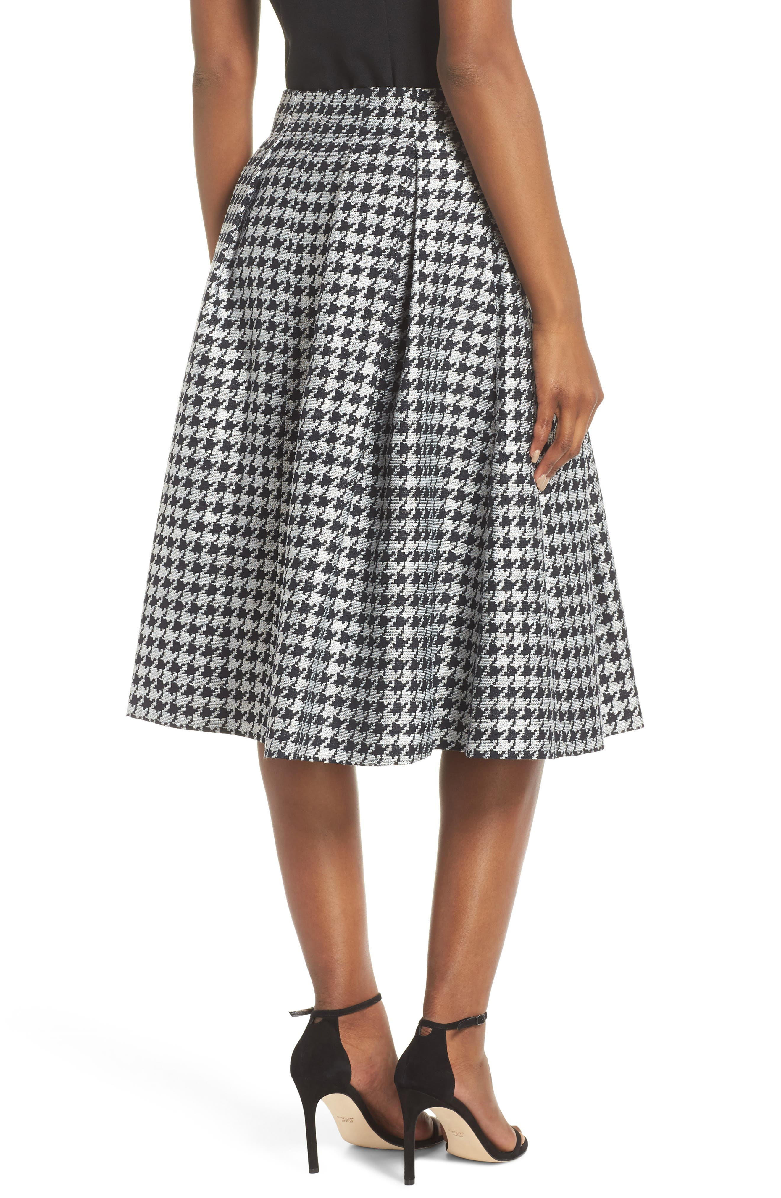 Houndstooth Pleated Skirt,                             Alternate thumbnail 2, color,                             001