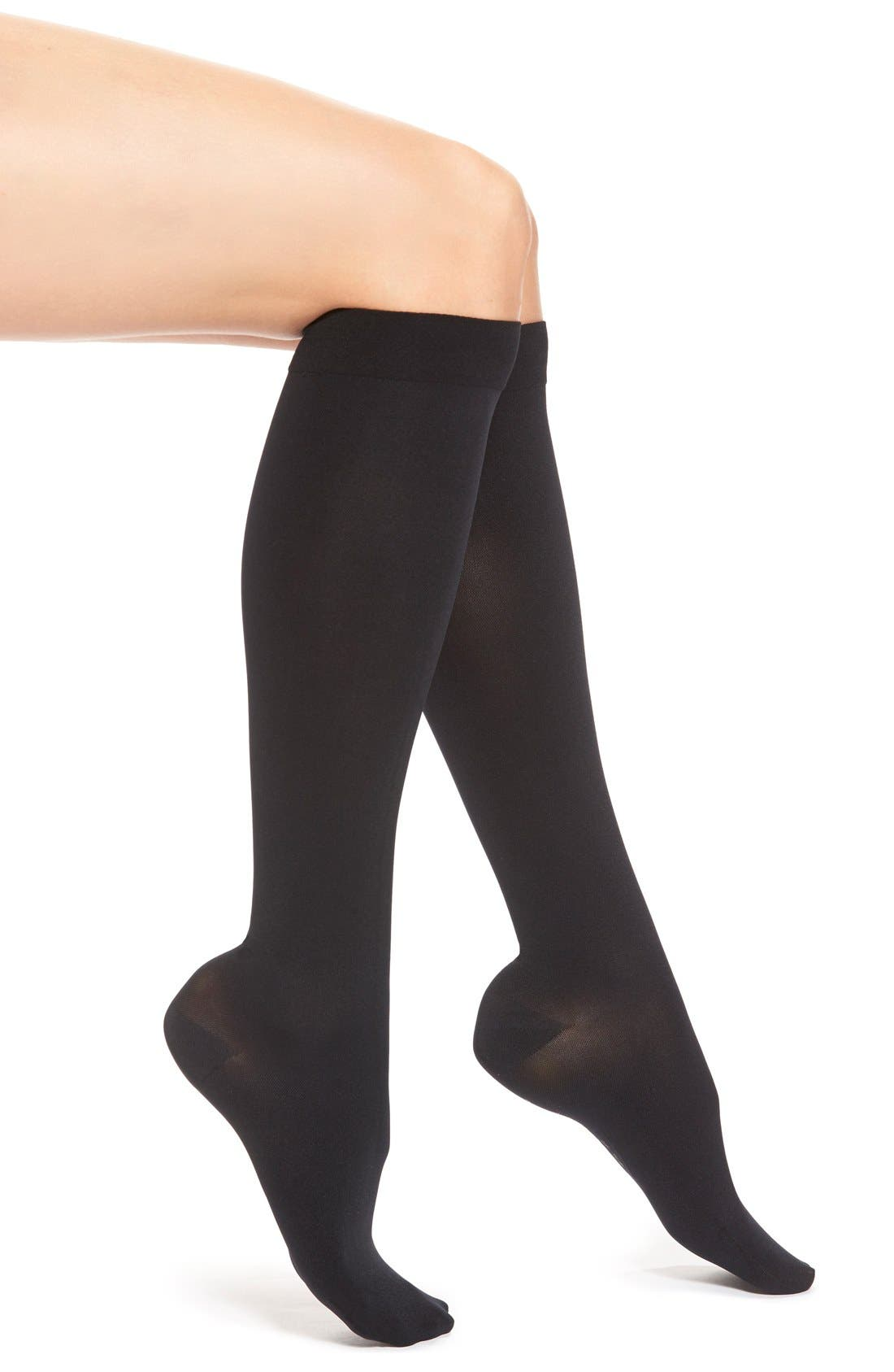 Opaque Compression Knee High Socks,                             Main thumbnail 1, color,                             BLACK