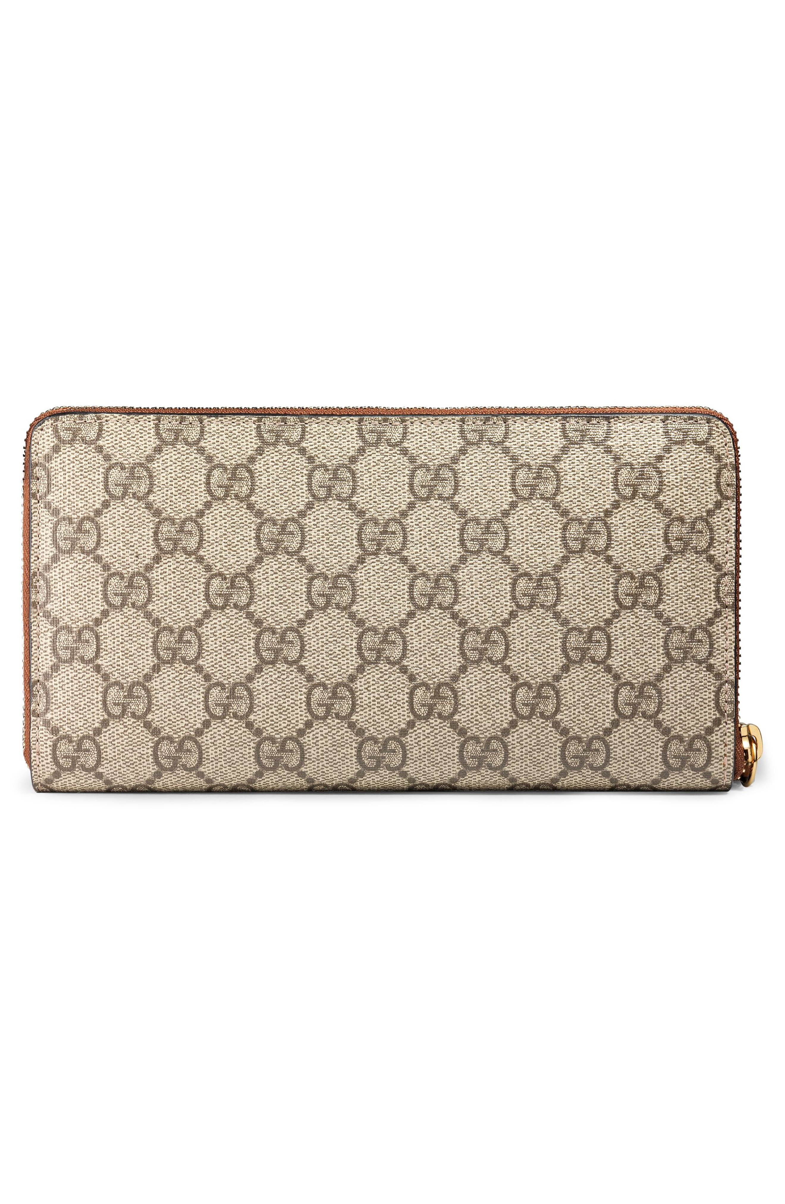 GG Supreme Zip Around Canvas Wallet,                             Alternate thumbnail 3, color,                             BEIGE/EBONY/CUIR