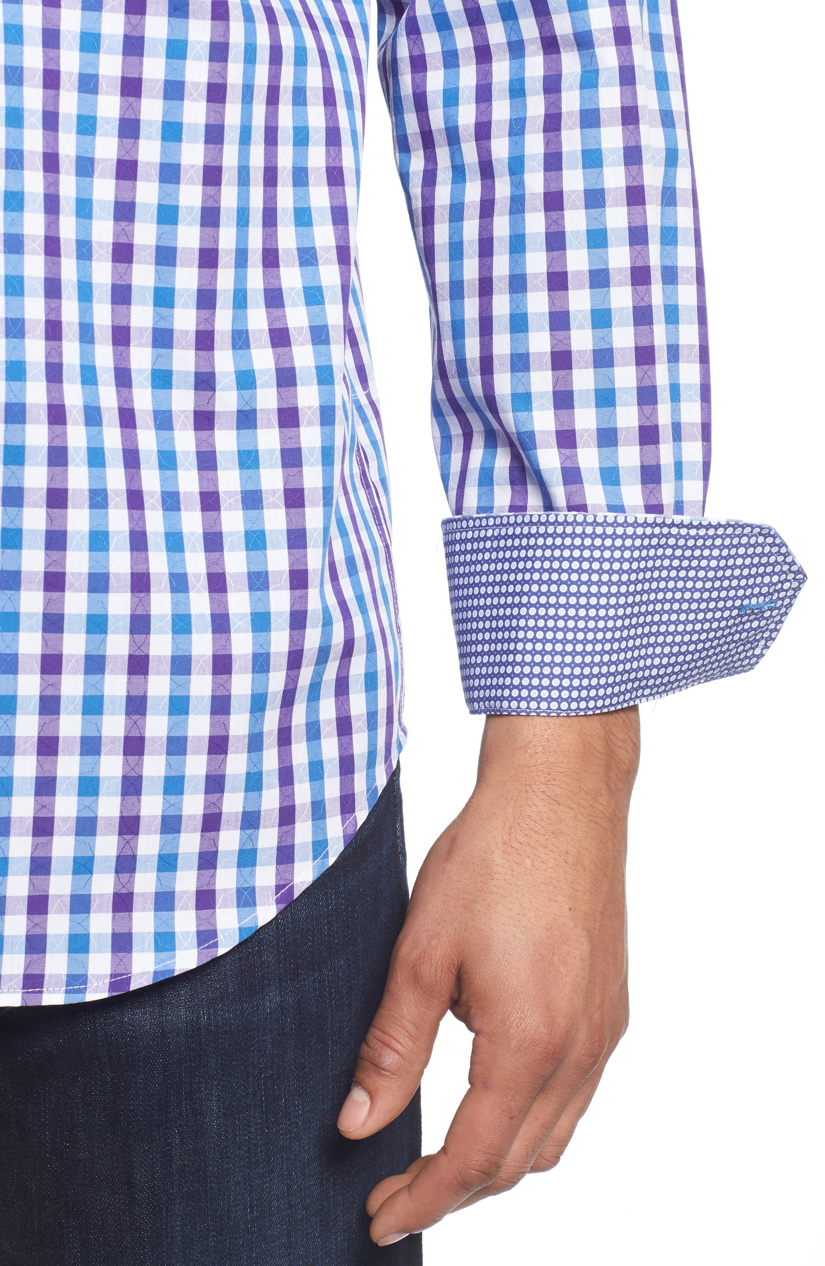 Classic Fit Jacquard Check Sport Shirt,                             Alternate thumbnail 4, color,
