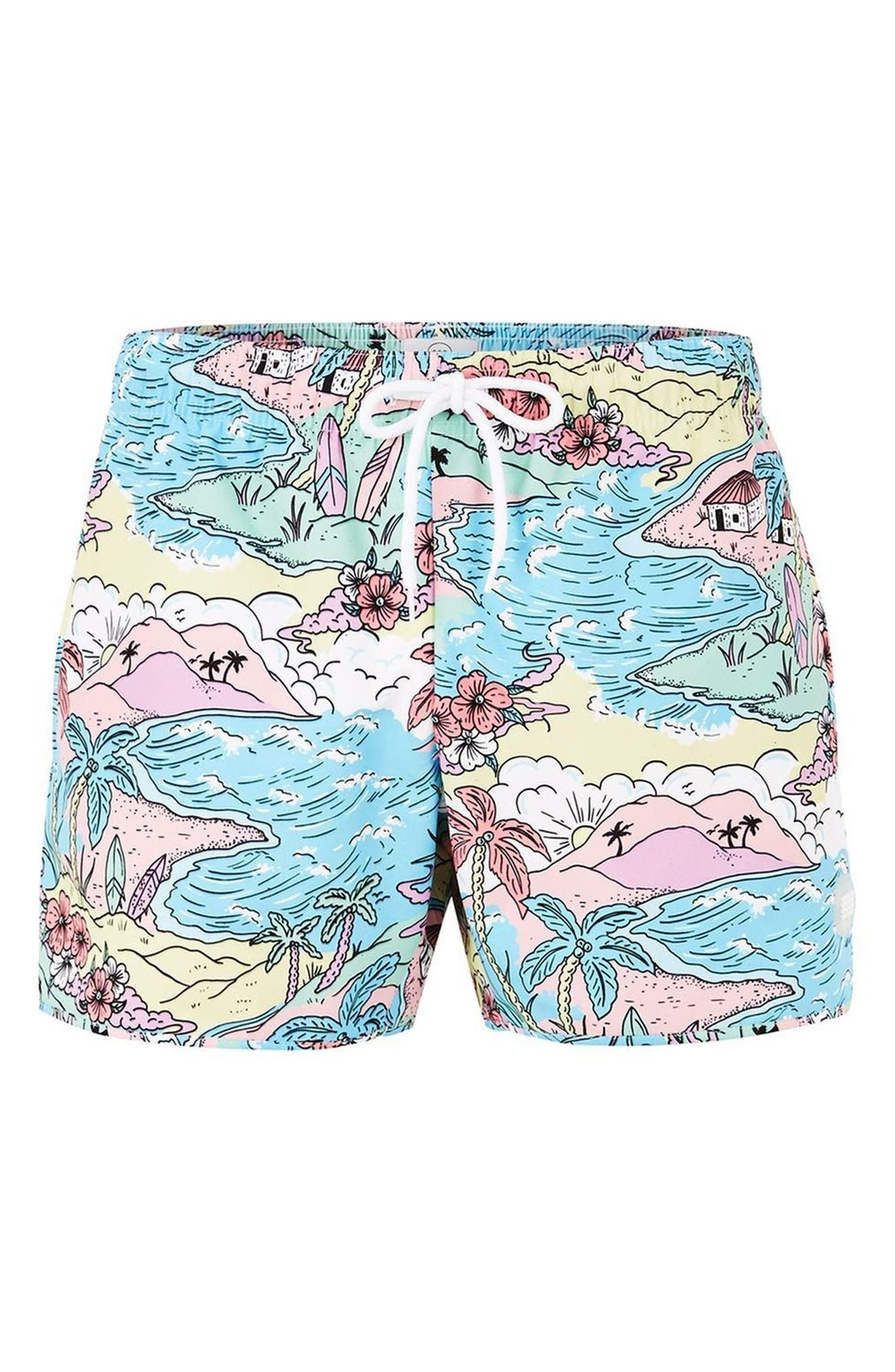 Print Swim Trunks,                             Alternate thumbnail 4, color,                             400