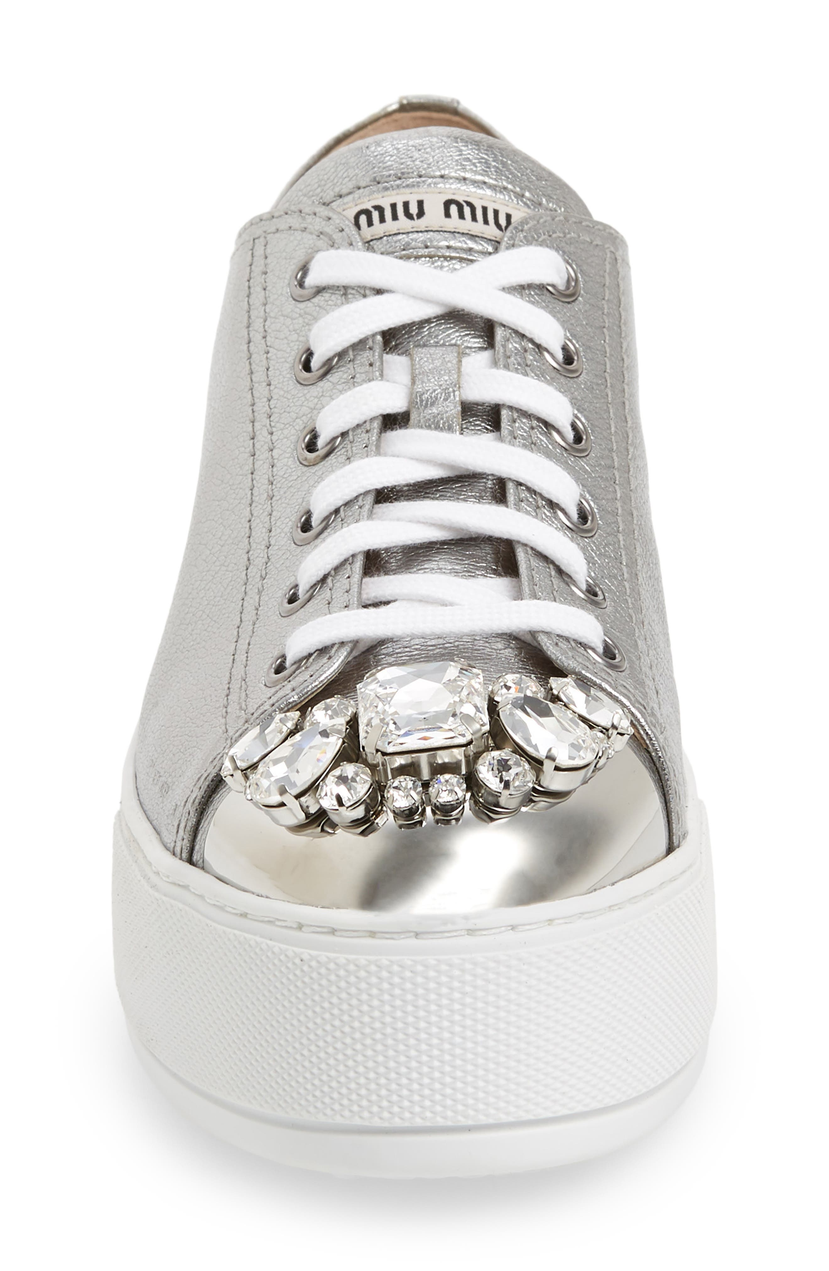 Crystal Cap Toe Sneaker,                             Alternate thumbnail 4, color,                             SILVER